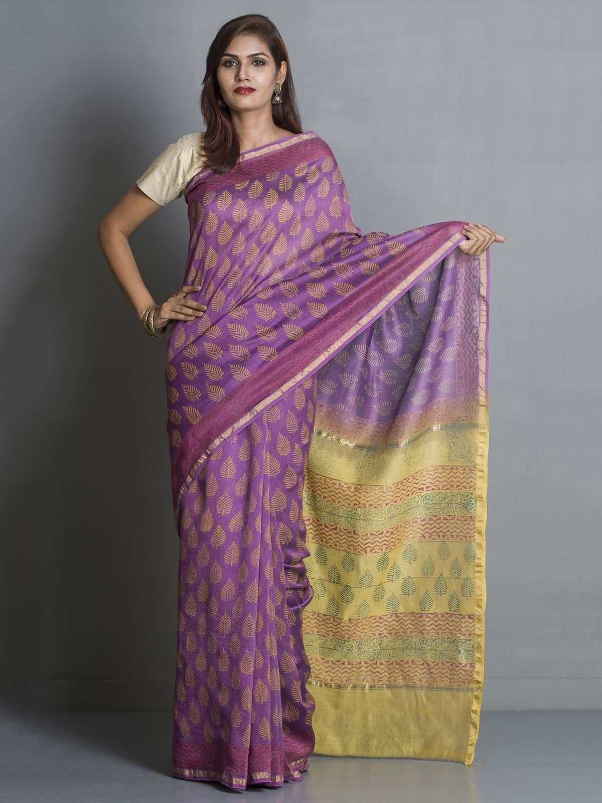 Purple Chanderi Saree