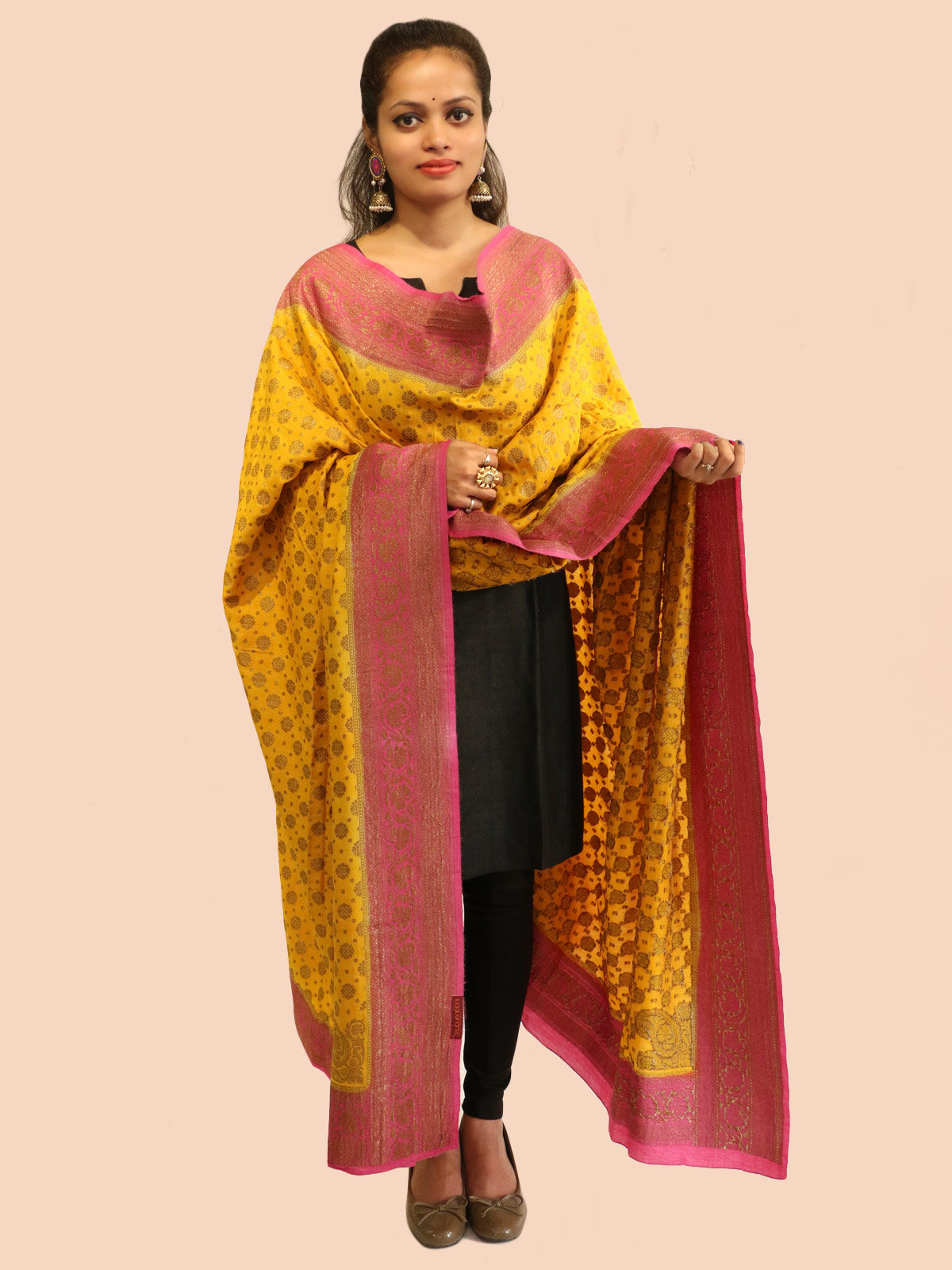 Yellow-Pink banarasi silk dupatta