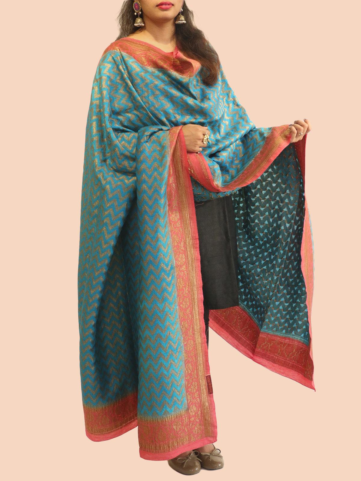 Blue-Rust banarasi silk dupatta