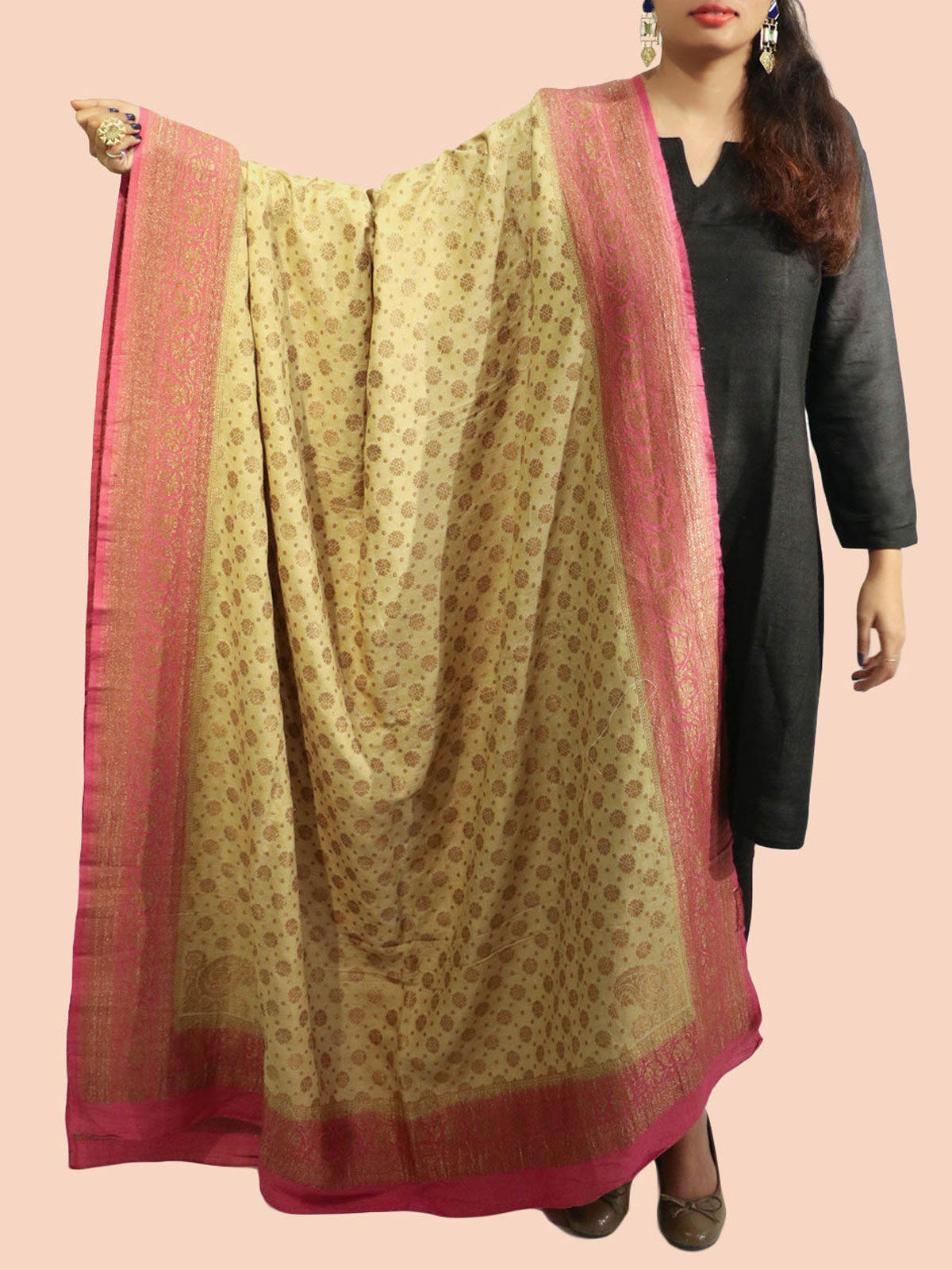 Pink-Yellow Banarasi silk dupatta