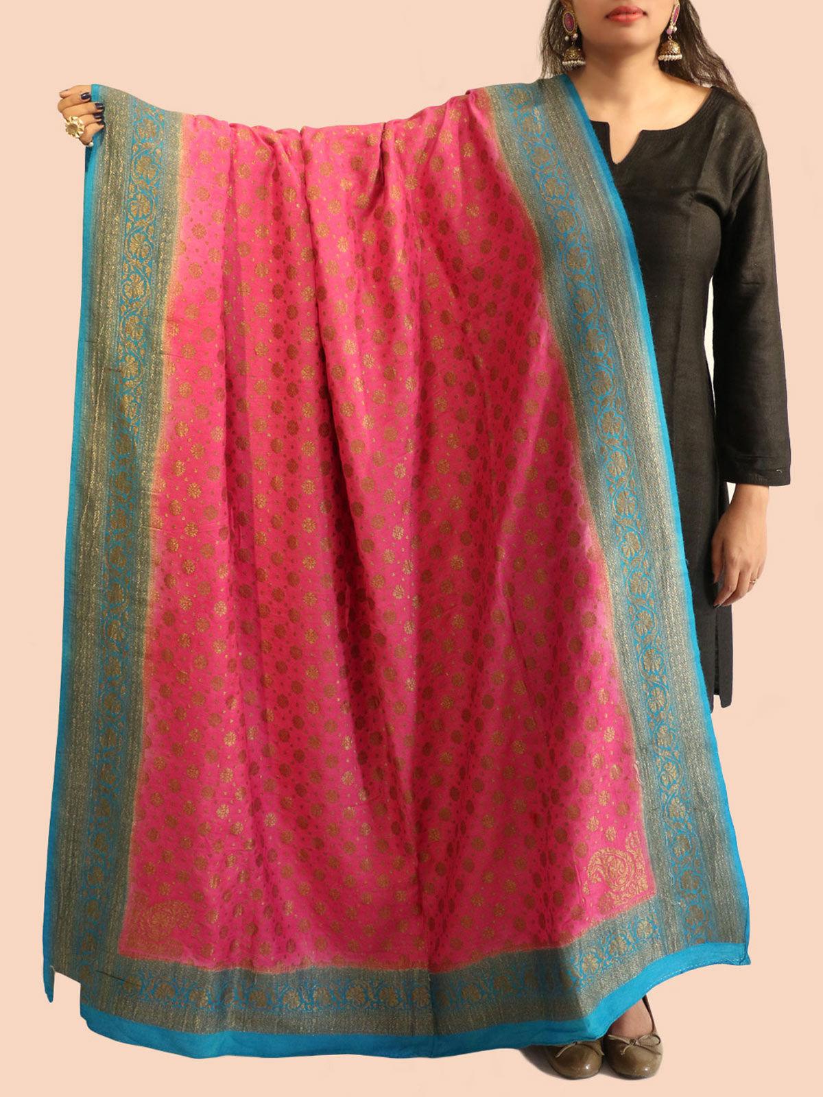 Pink-Blue Banarasi silk dupatta