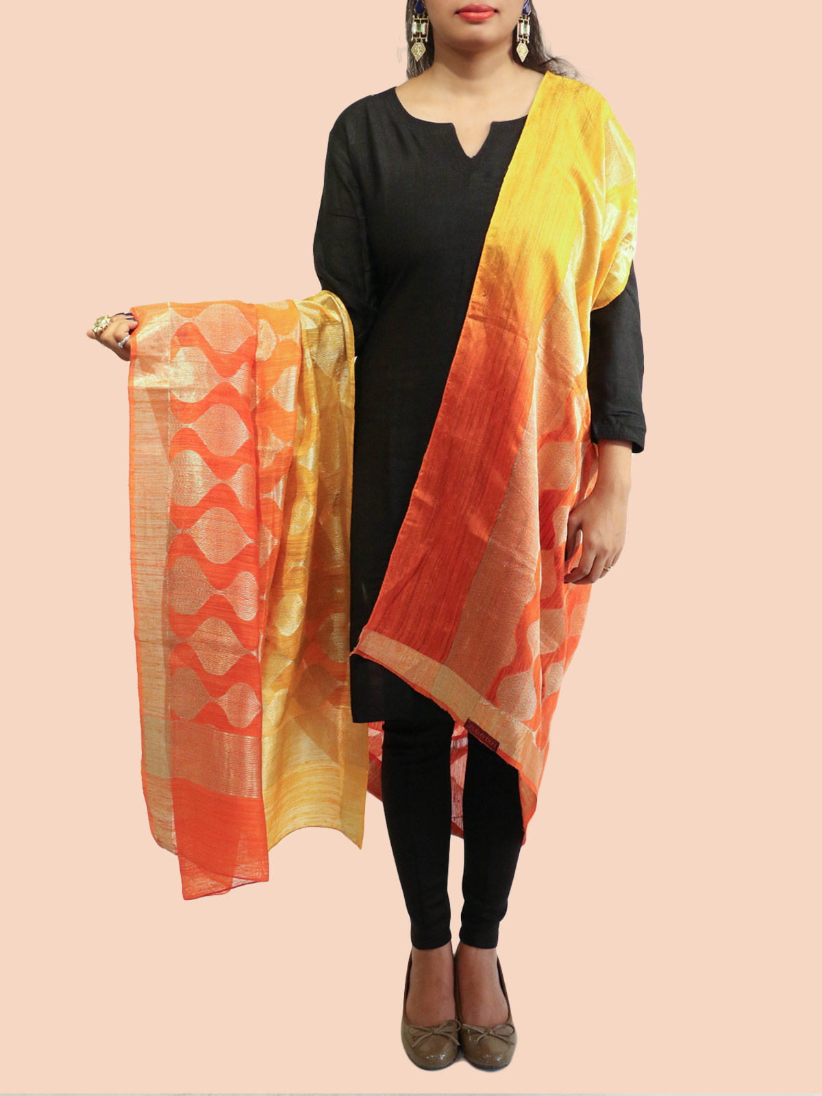 Orange-Yellow Banarasi silk dupatta