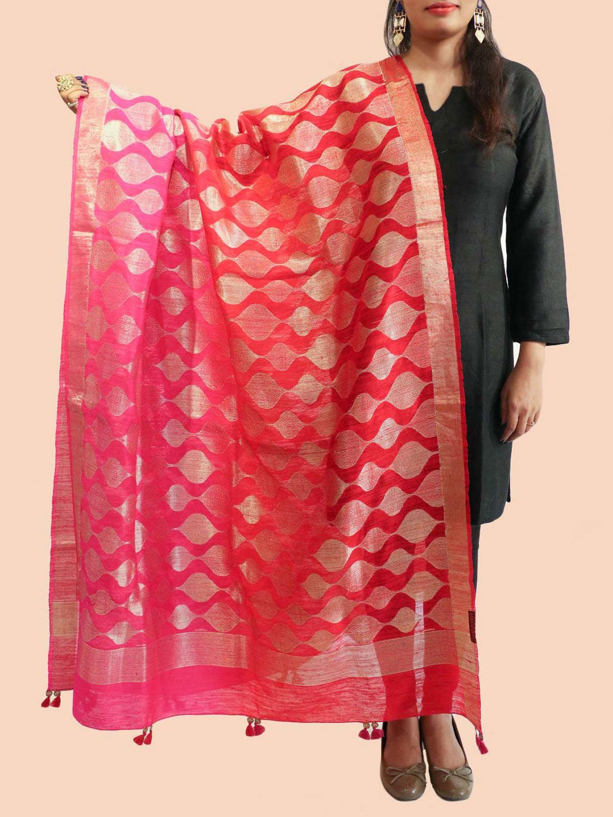 Magenta Red Banarasi silk dupatta