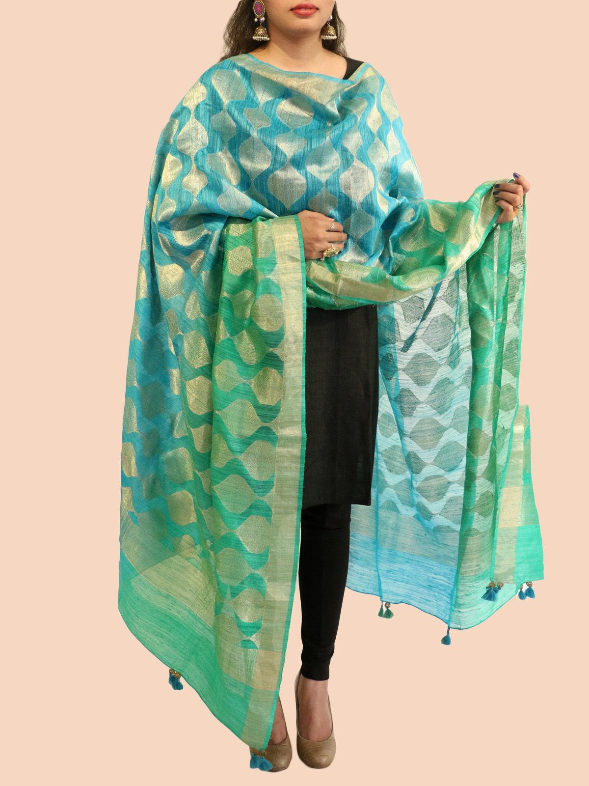 Turquoise-Green Banarasi silk dupatta