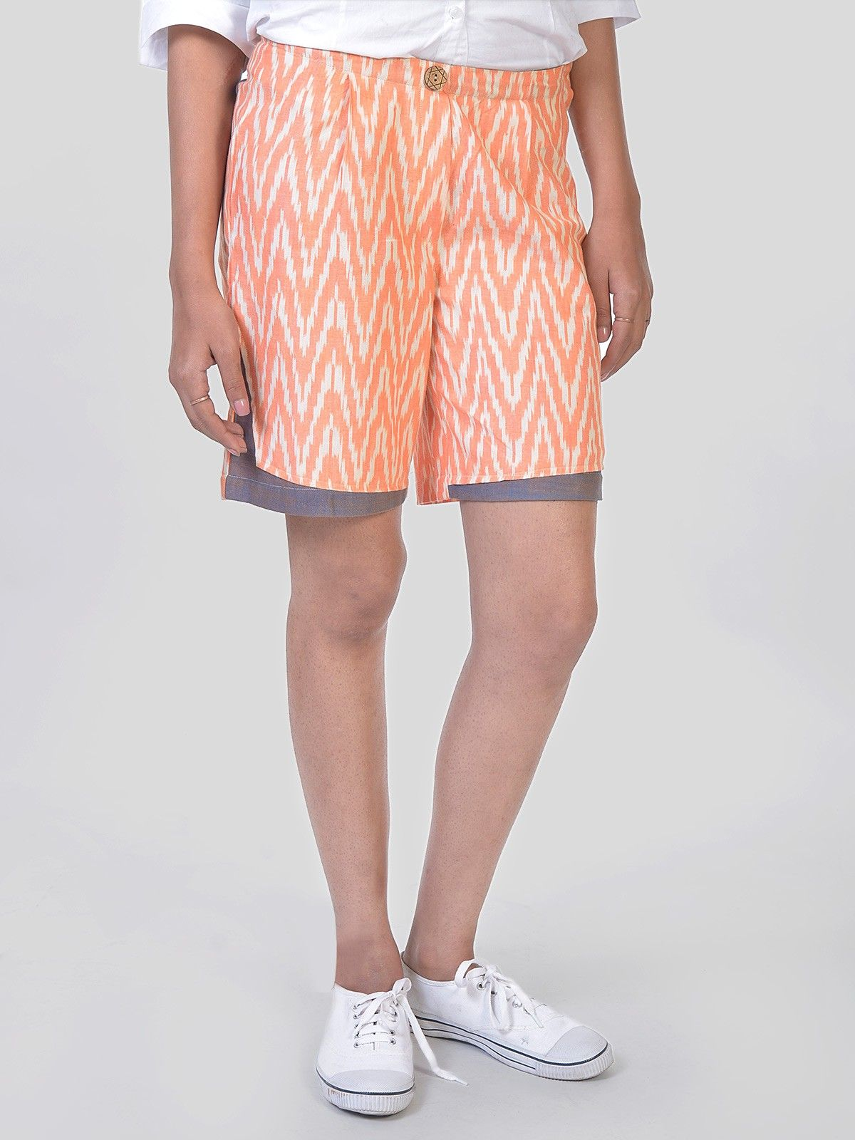Peach Buttoned shorts