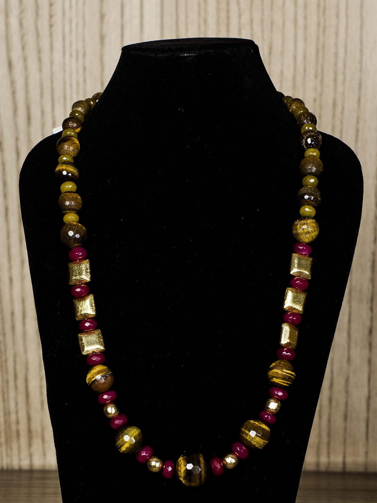 Mustard Semiprecious Stone Necklace