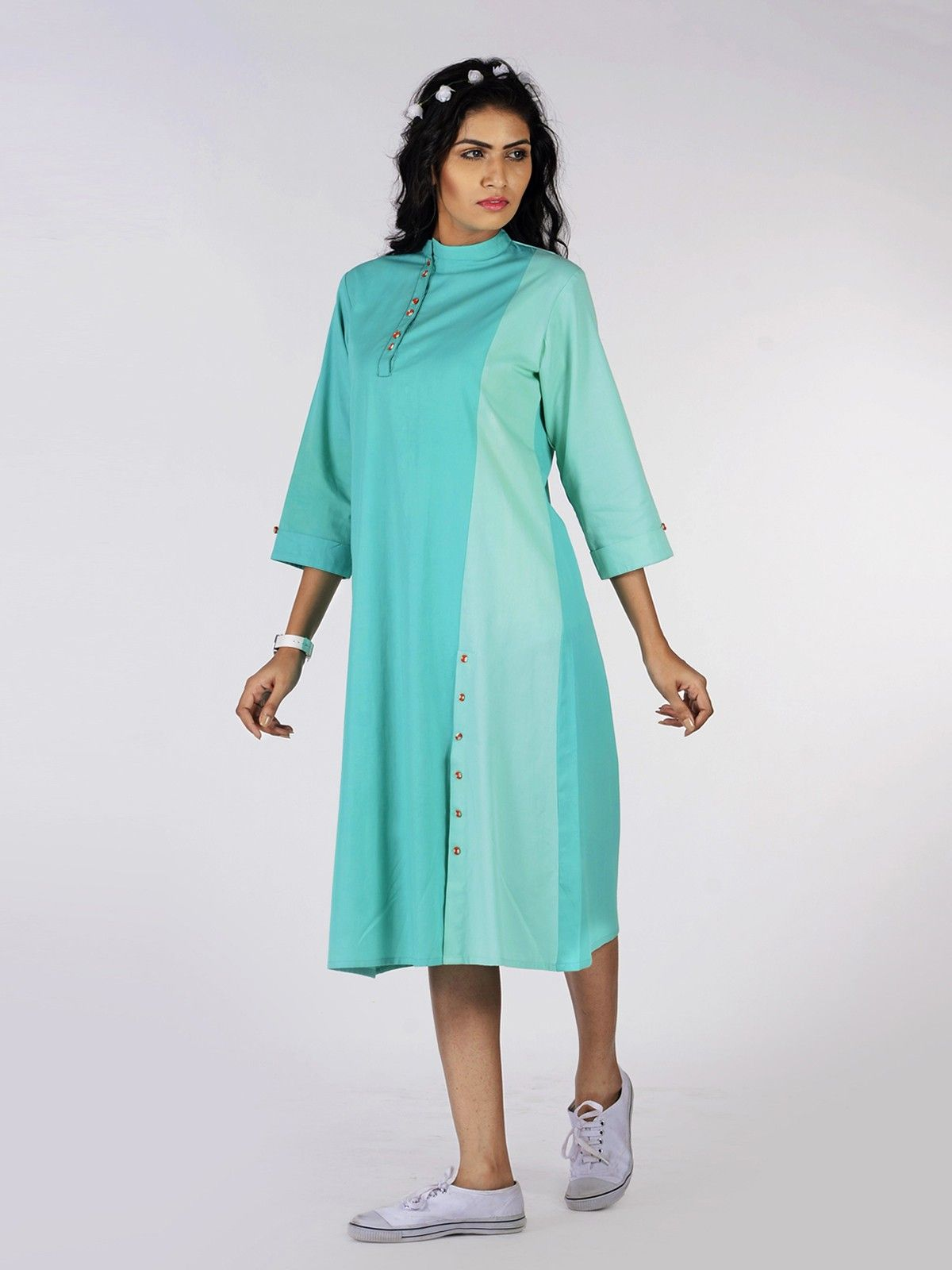Aquamarine Cotton Shirt Dress