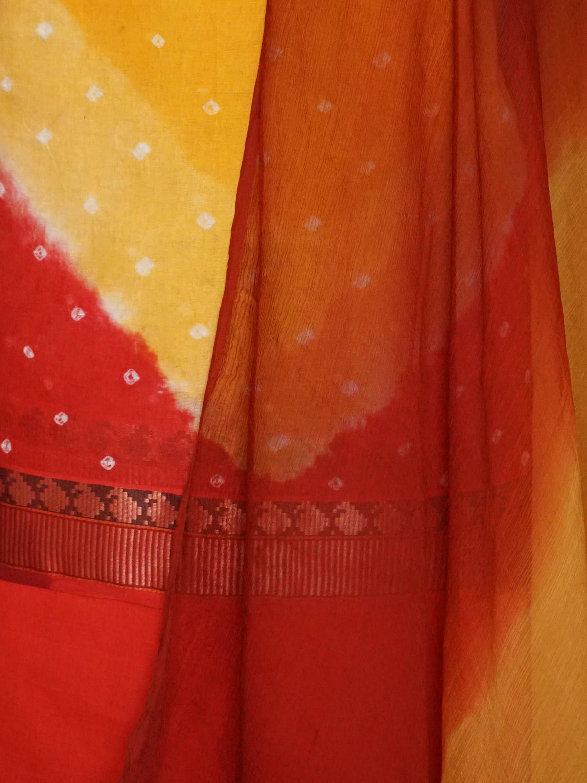 Red yellow bandani cotton dress material with dupatta