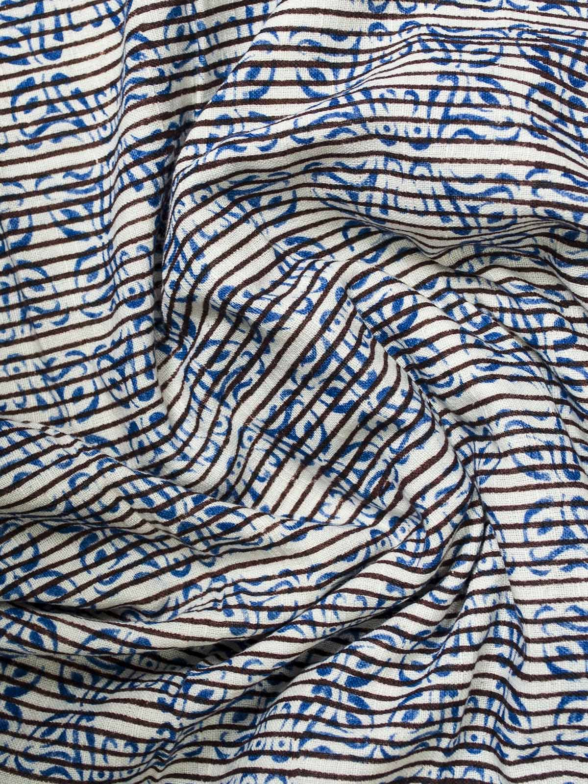Blue Block Print Cotton Fabric