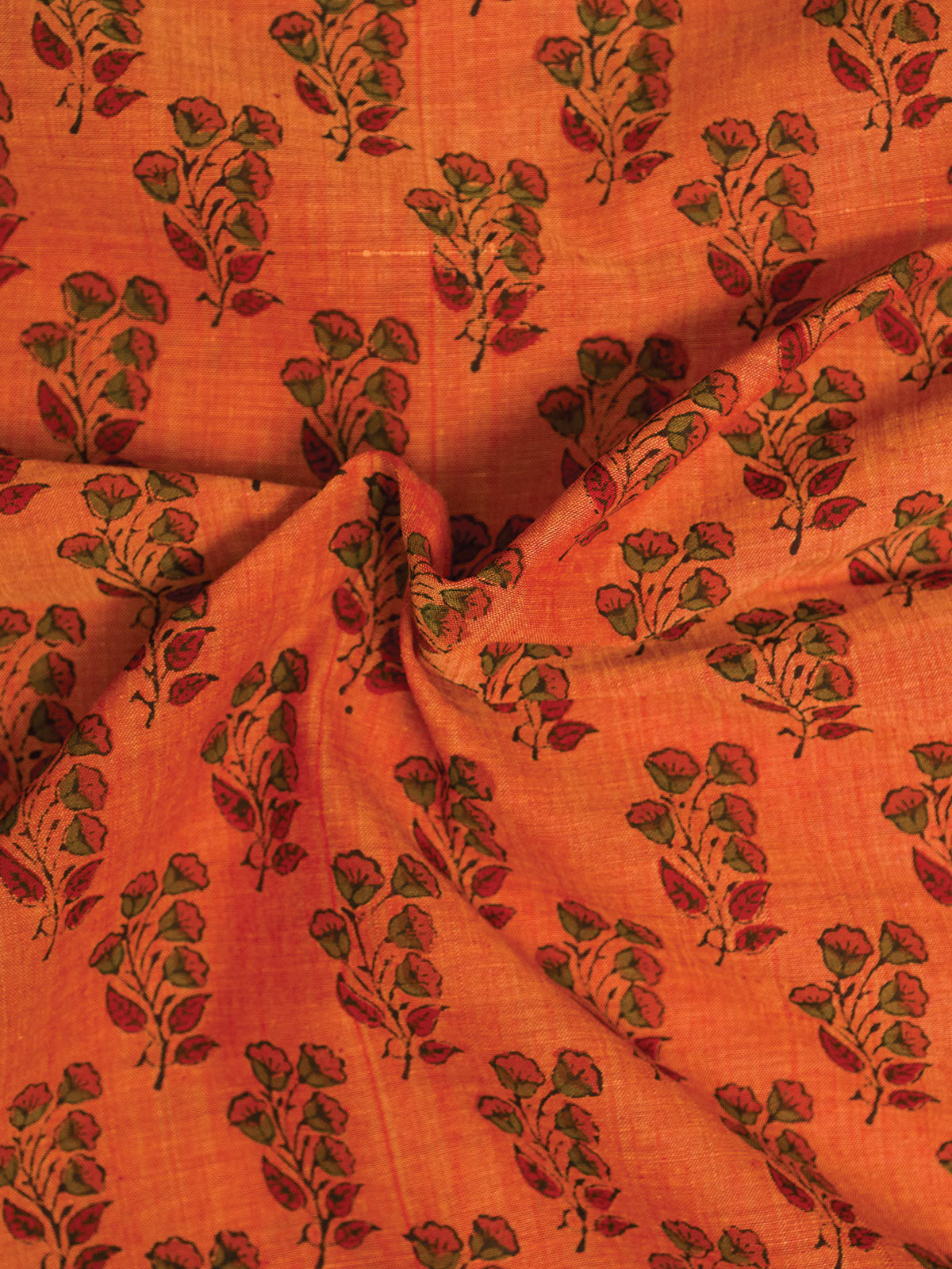 Orange Mangalgiri Cotton Fabric