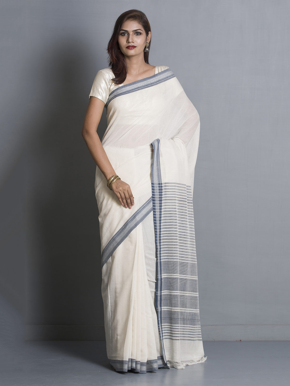 White Organic Cotton Saree