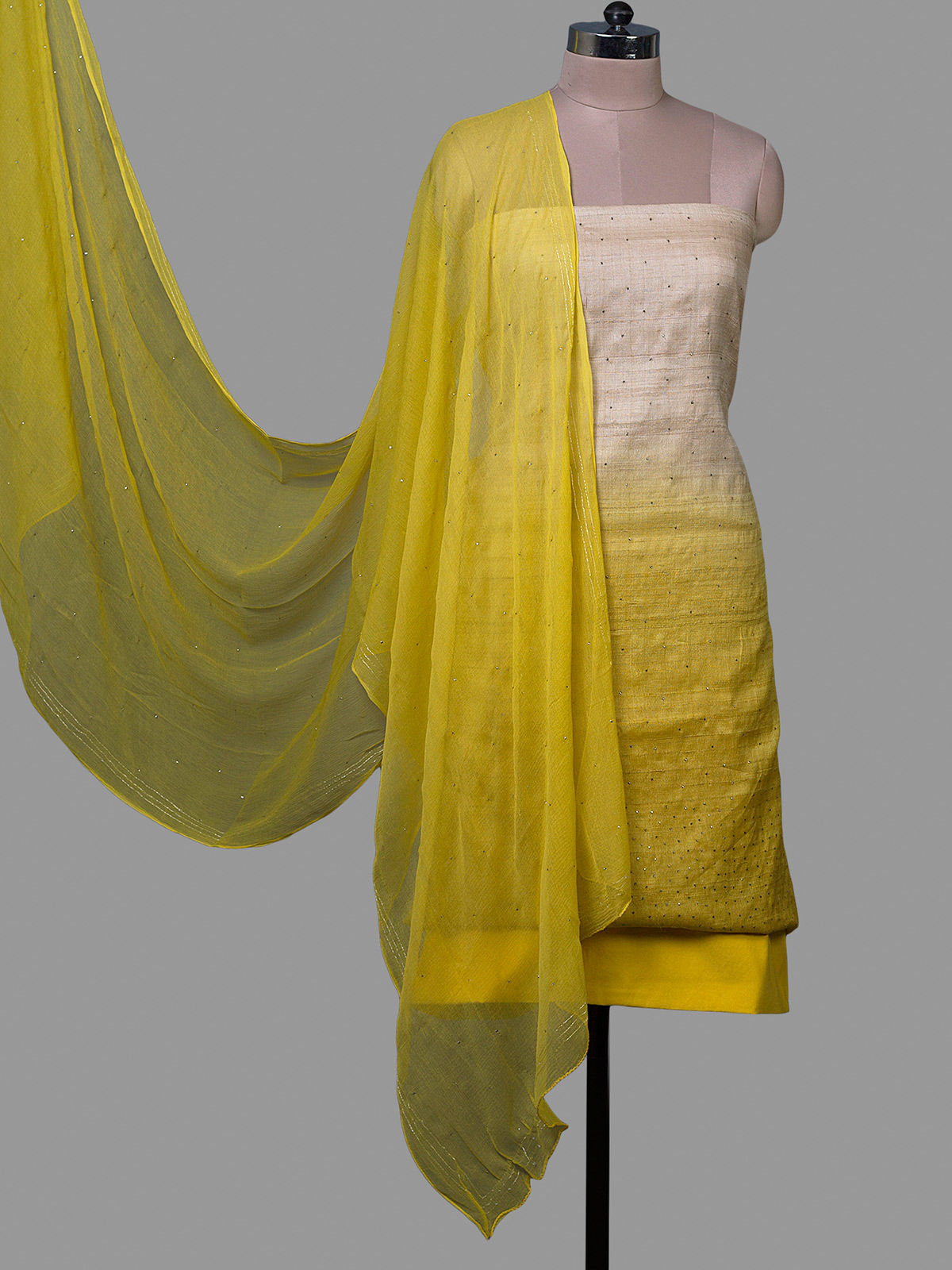 Yellow Tussar Silk Unstiched Dress Material with Chiffon Dupatta