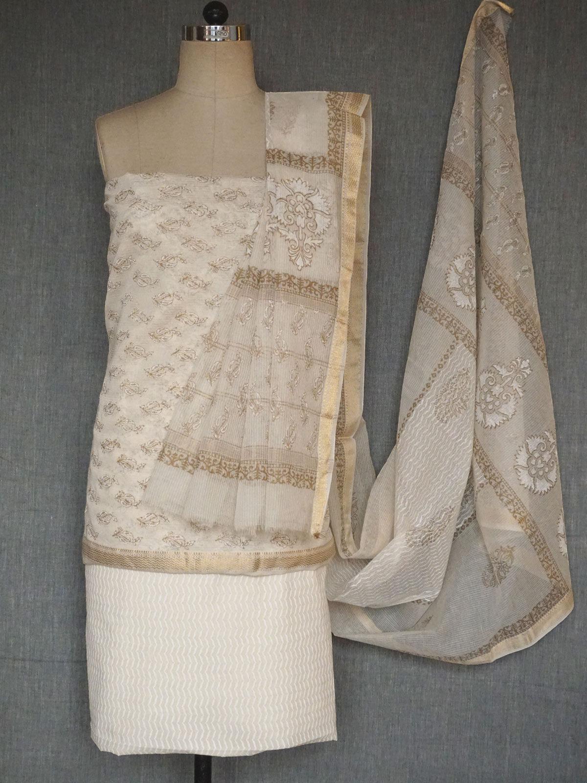 Off white maheshwari dress material with maheshwari dupatta
