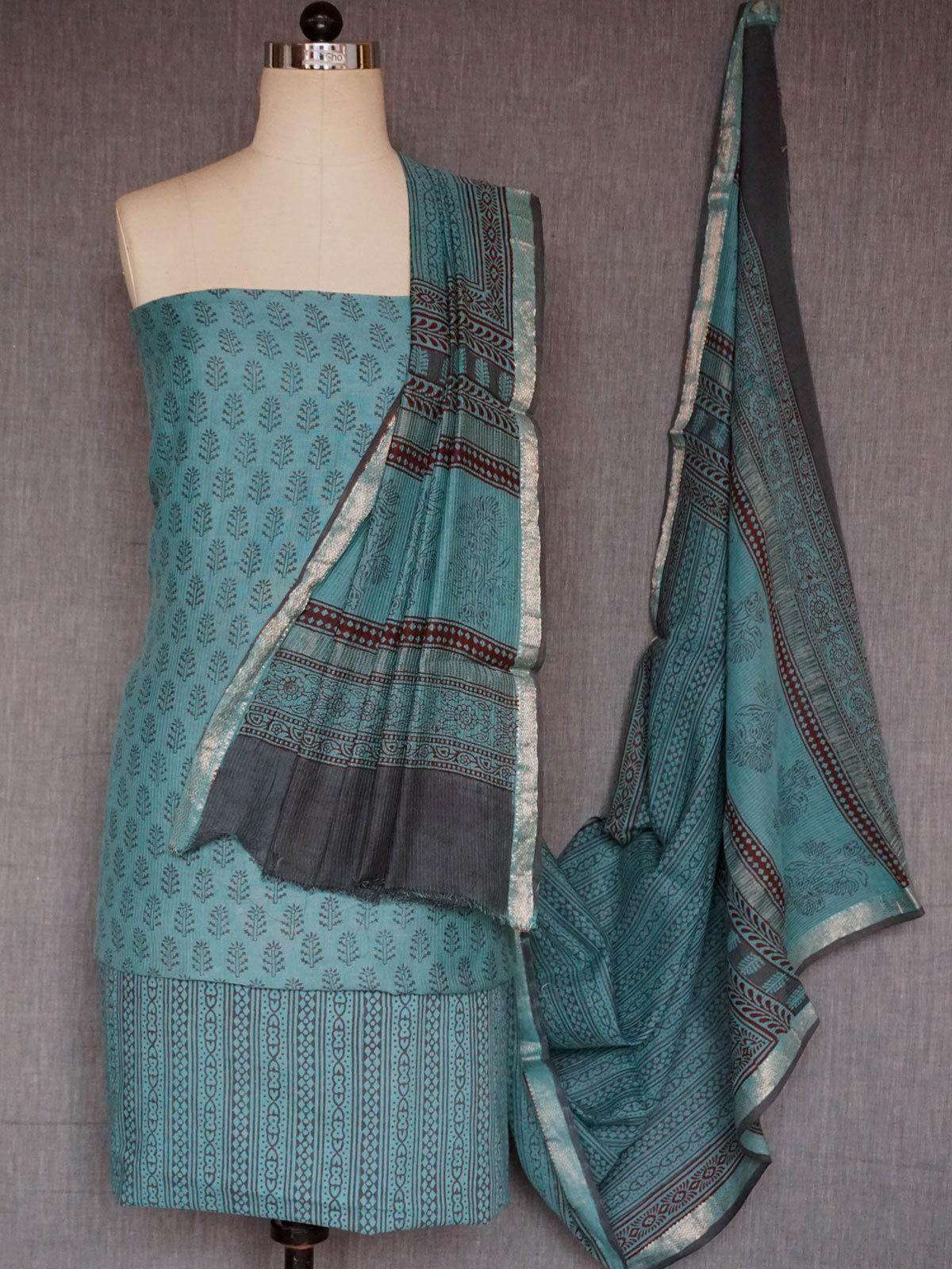 Sky blue maheshwari cotton-silk dress material with dupatta
