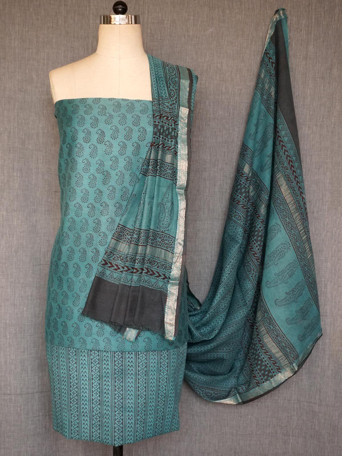 Blue maheshwari dress material with dupatta
