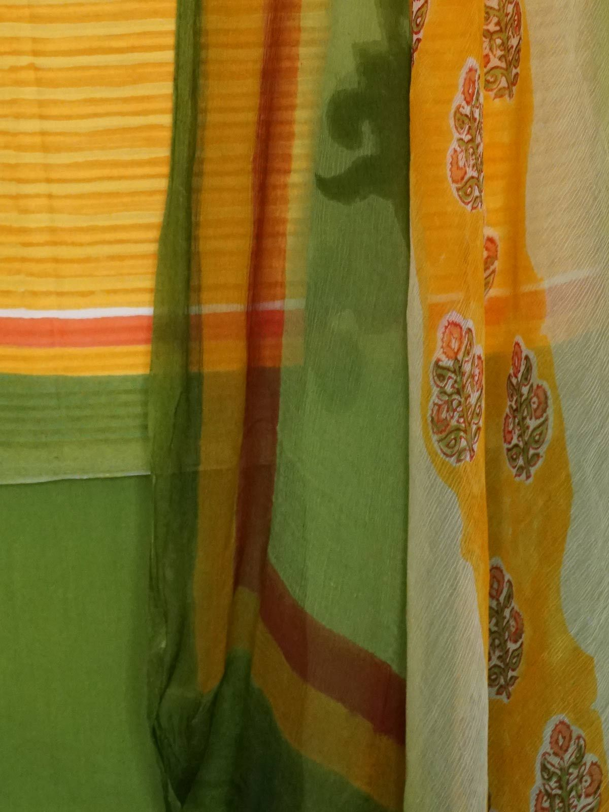 Green-yellow dobby cotton block printed dress material with multicolored dupatta
