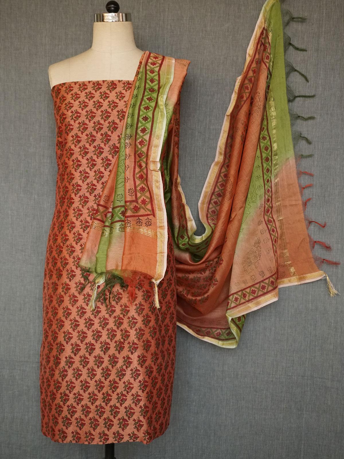 Multicoloured  chanderi dress material with muticolored  chanderi dupatta