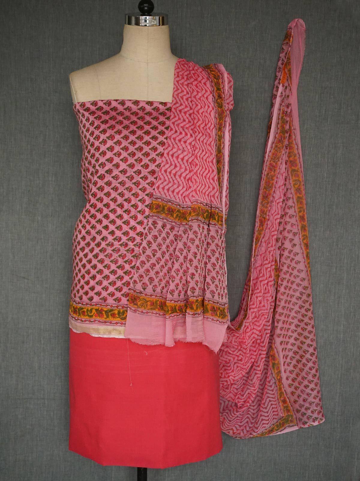 Pink chanderi  dress material with dupatta