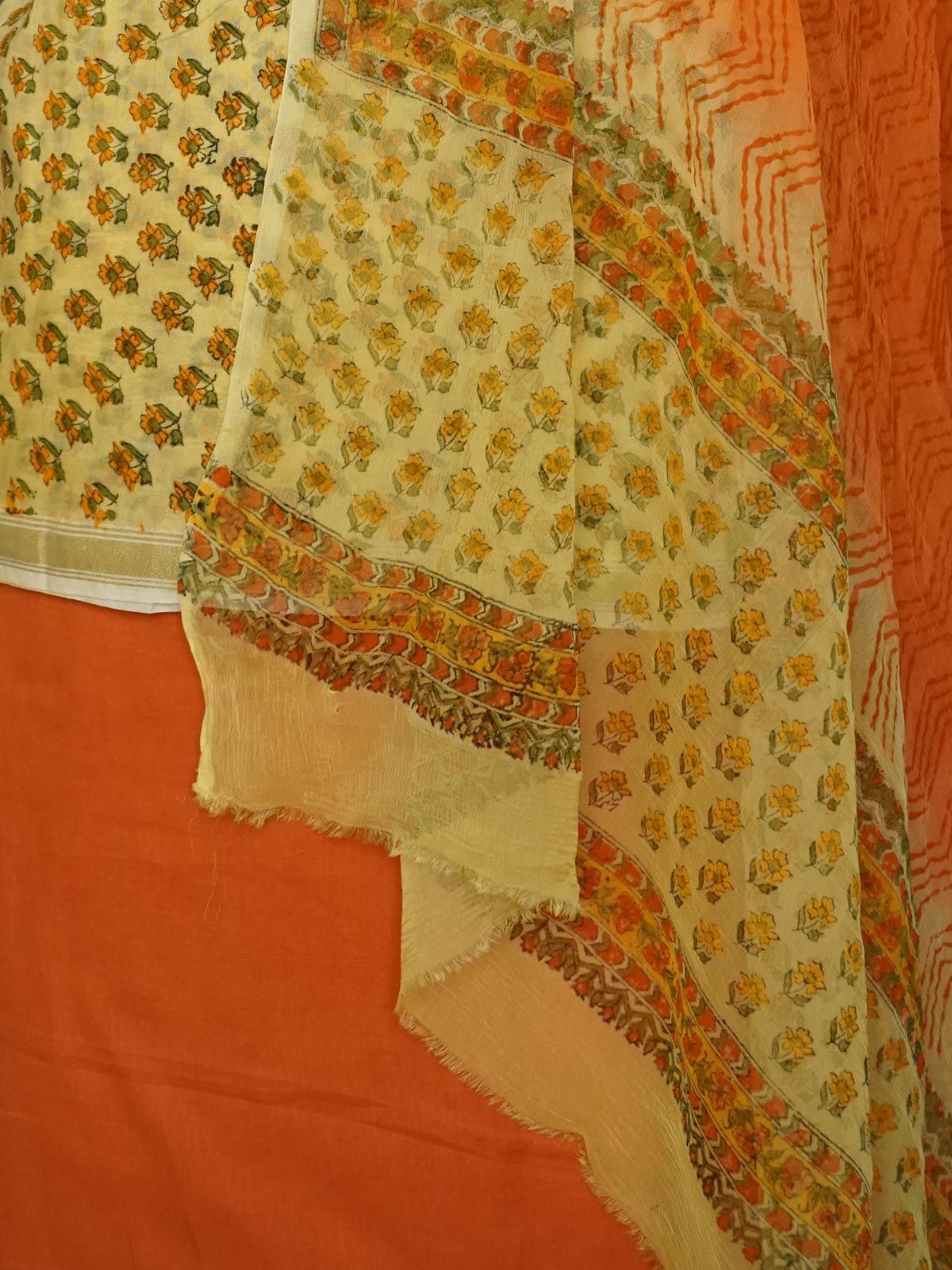 Yellow chanderi dress material with dupatta