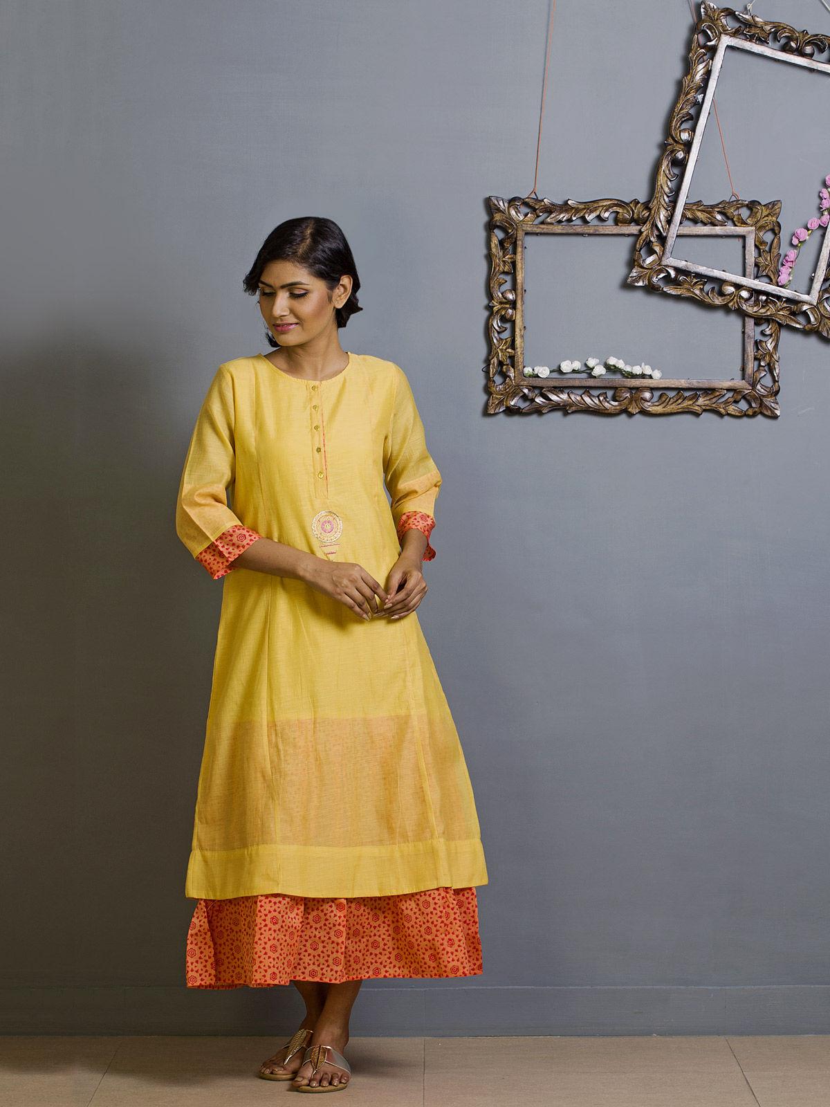 Yellow and Orange Block Print Chanderi Kurta