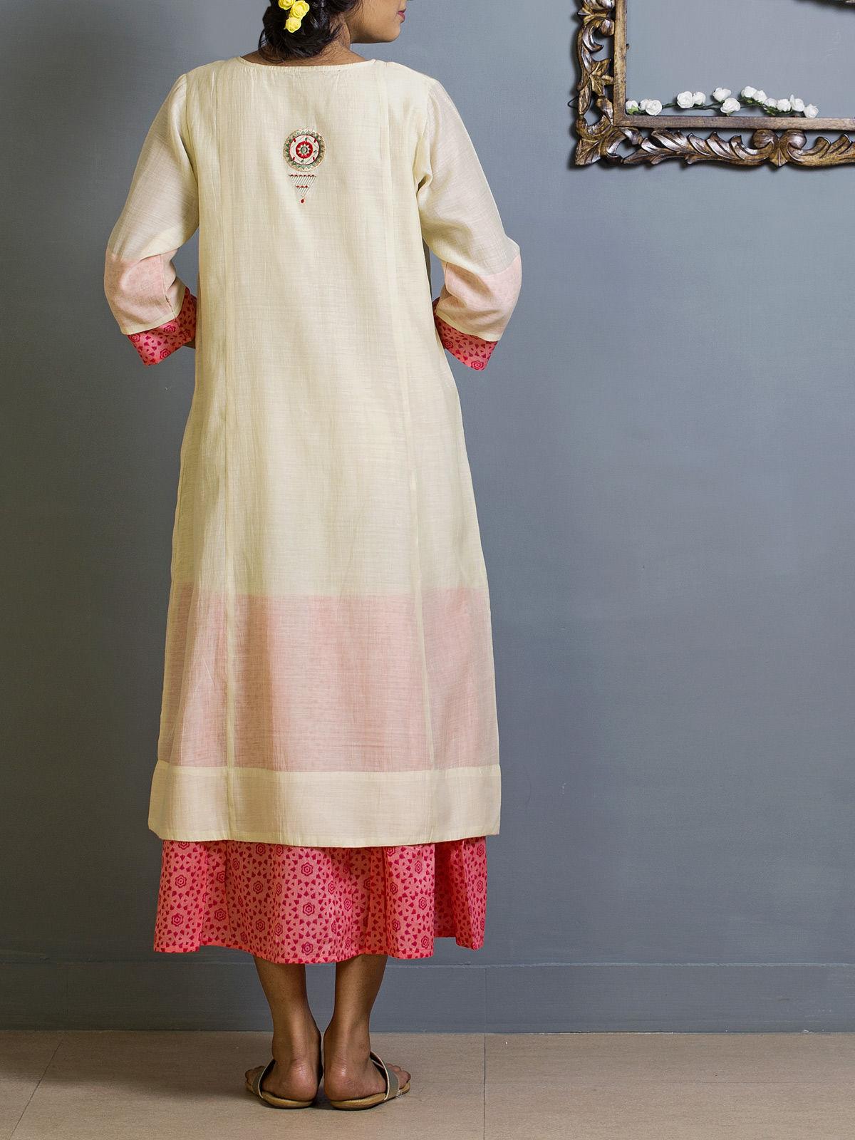 White and Pink Block Print Chanderi Kurta