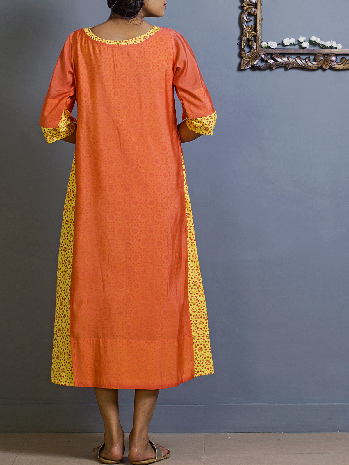 Tangerine Layered Chanderi Tunic
