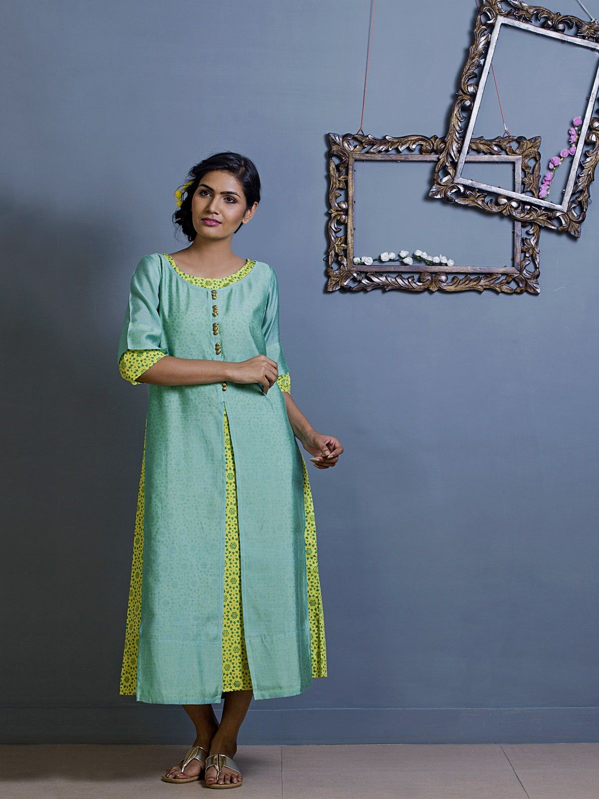 Light Teal Layered Chanderi Tunic