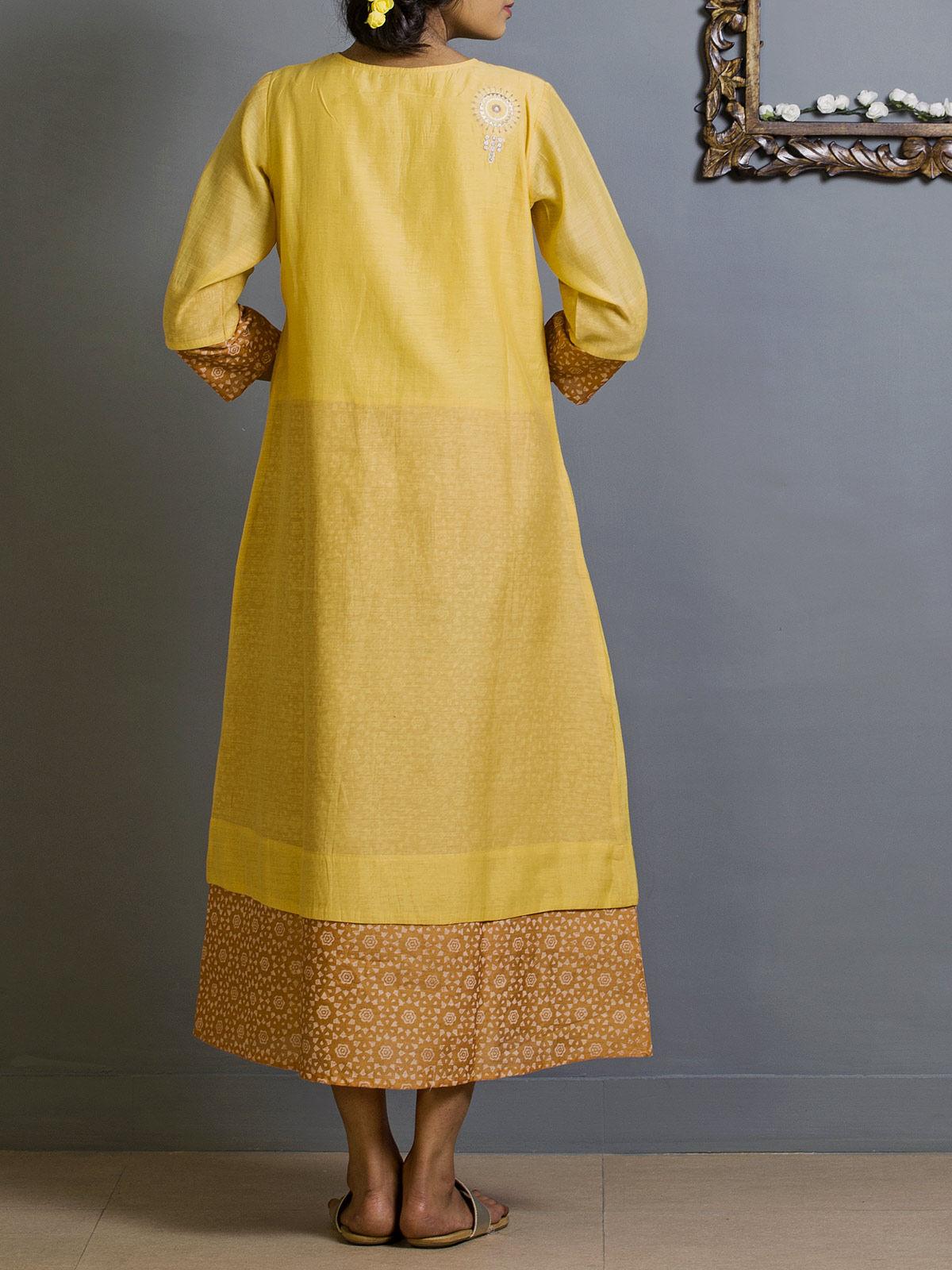 Yellow and Carrot Block Print Chanderi Kurta