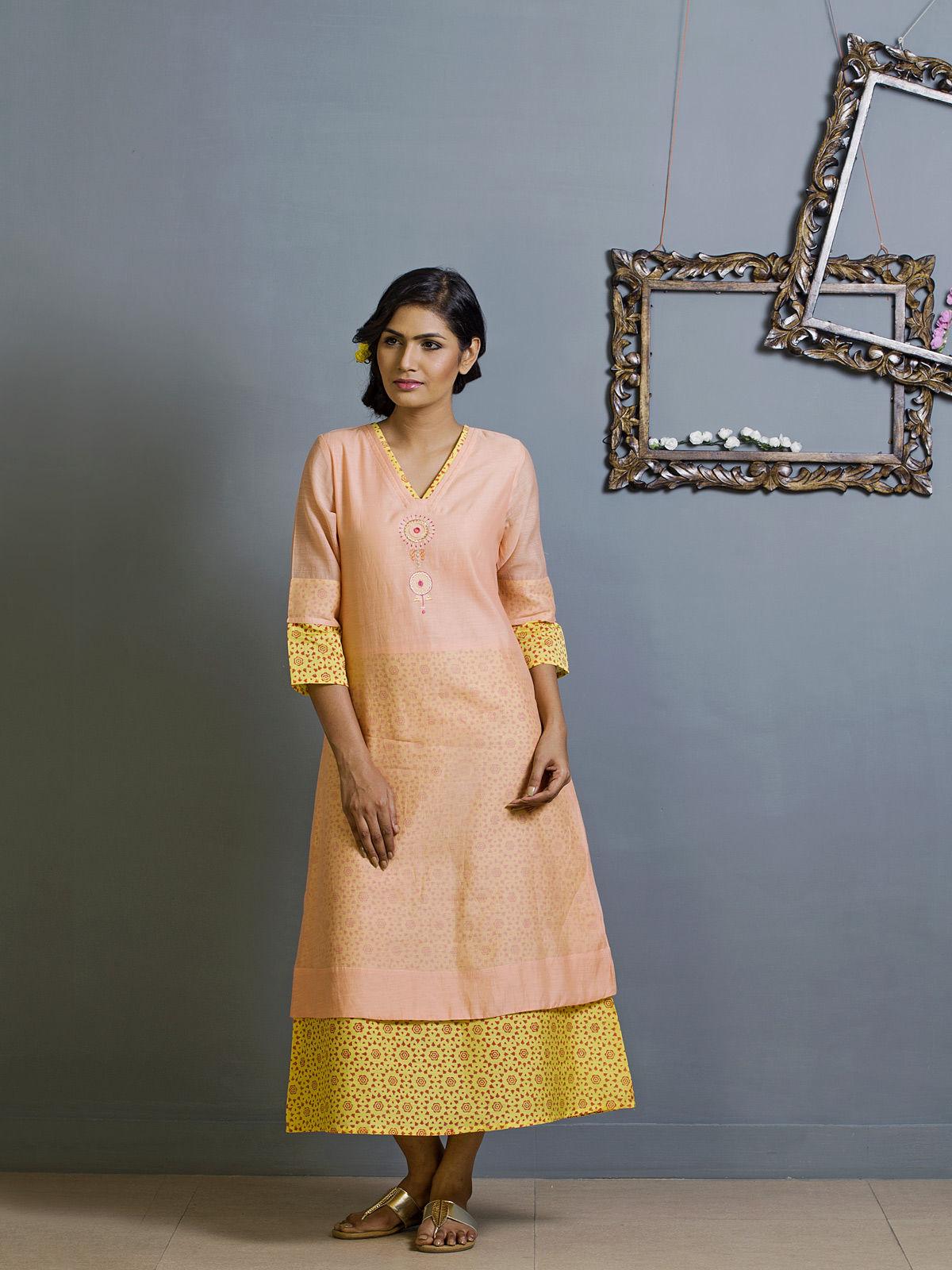 Salmon and Yellow Block Print Chanderi Kurta