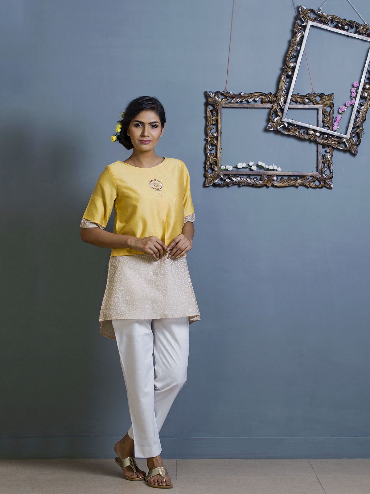 Yellow and White Layered Chanderi Ethnic Top