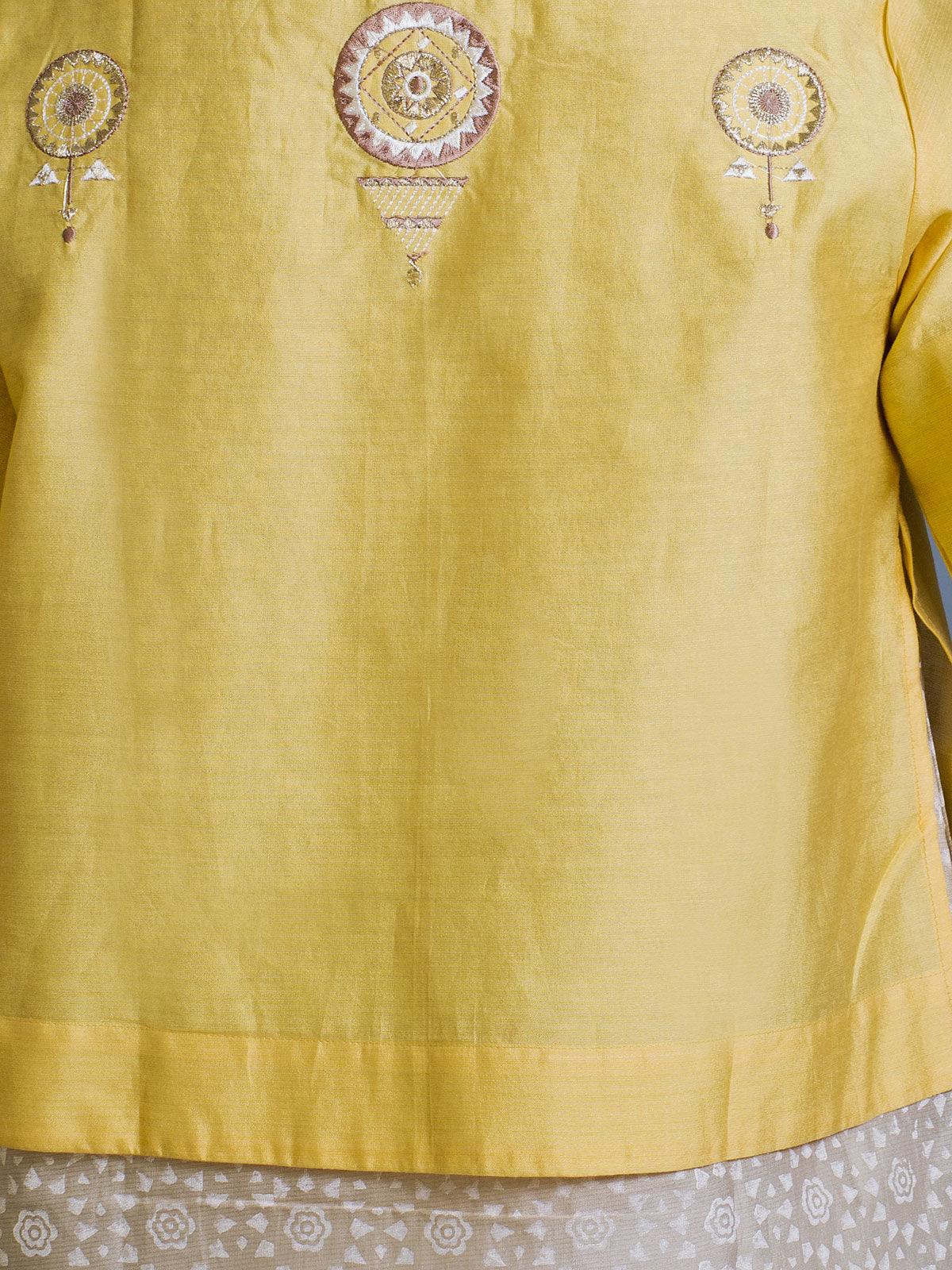 Yellow and White Layered Chanderi Ethnic Top