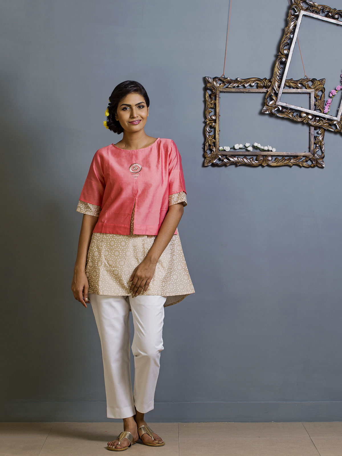 Pink and White Layered Chanderi Ethnic Top