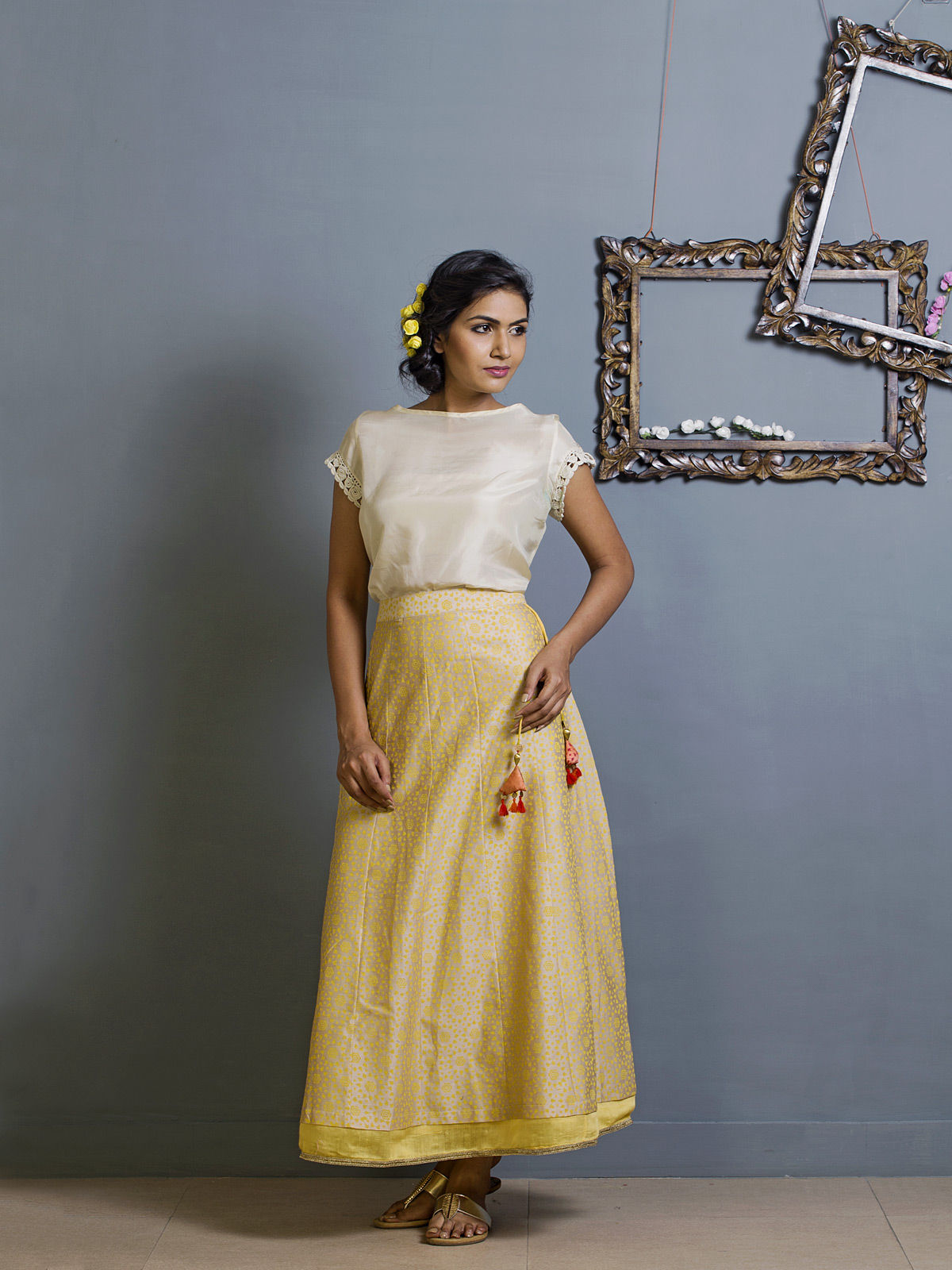 Pale Yellow Layered Chanderi Ehtnic Skirt