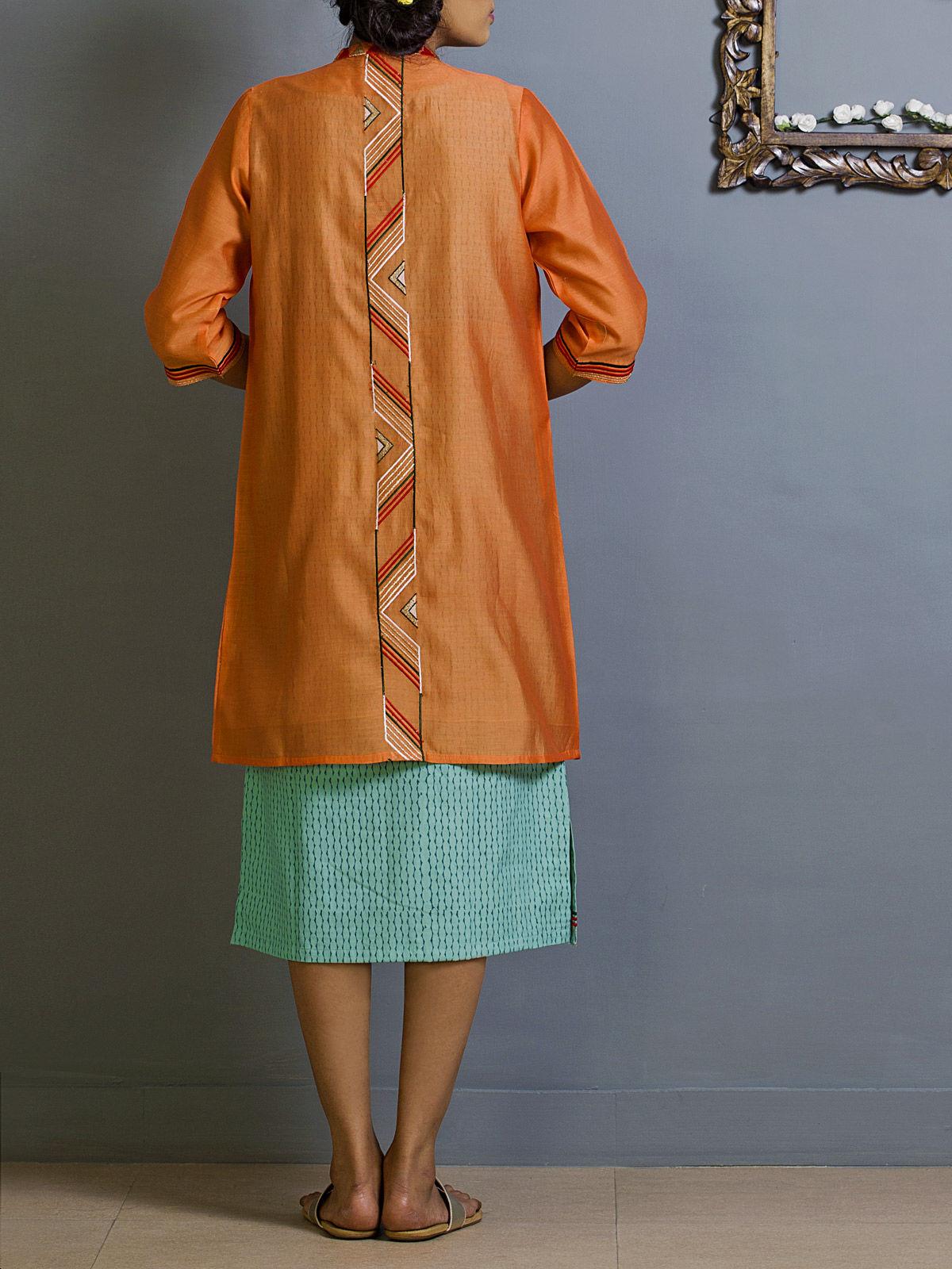 Tangerine Chanderi Overlay