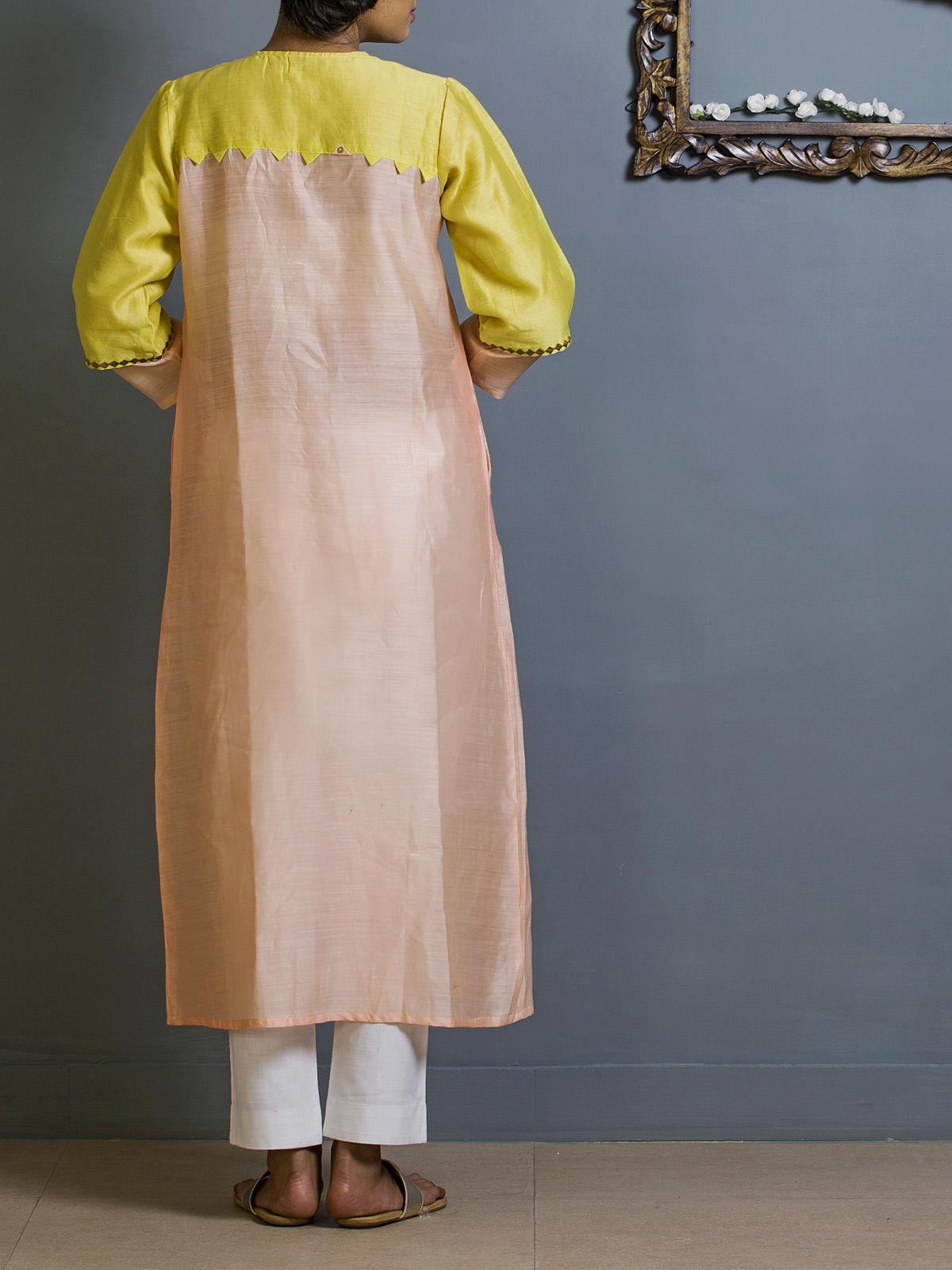Peach and Lemon Frontslit Chanderi Kurta