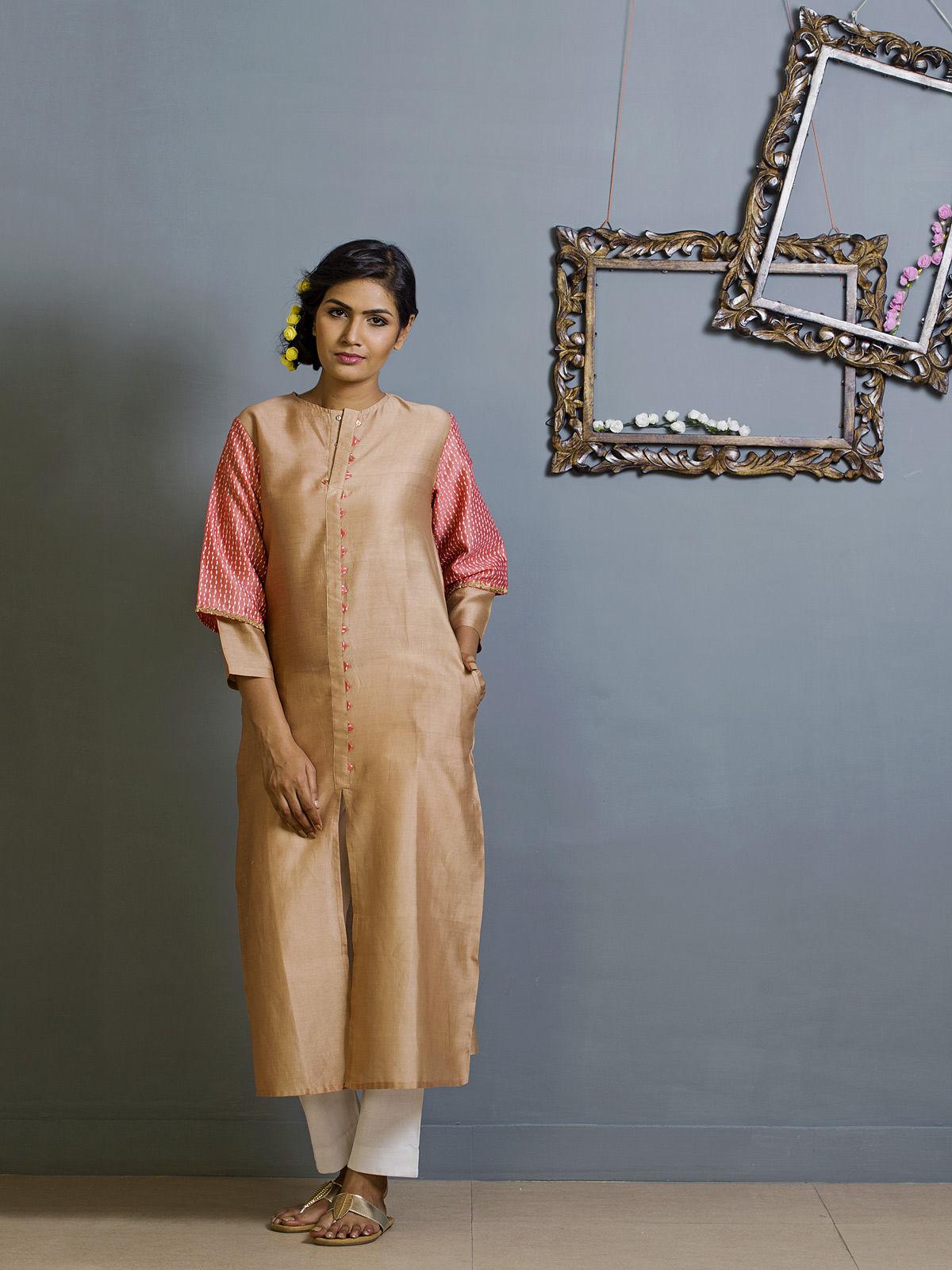 Tan and Pink Frontslit Chanderi Kurta