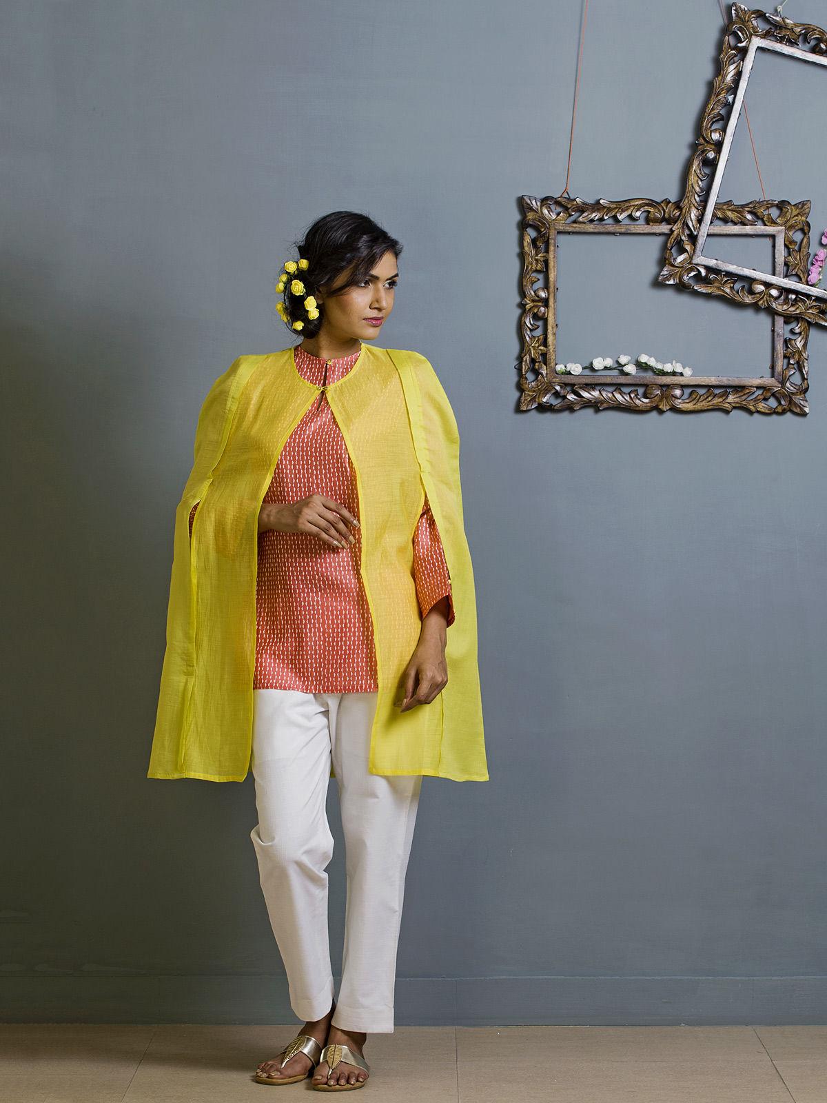 Yellow Cape style Chanderi Overlay