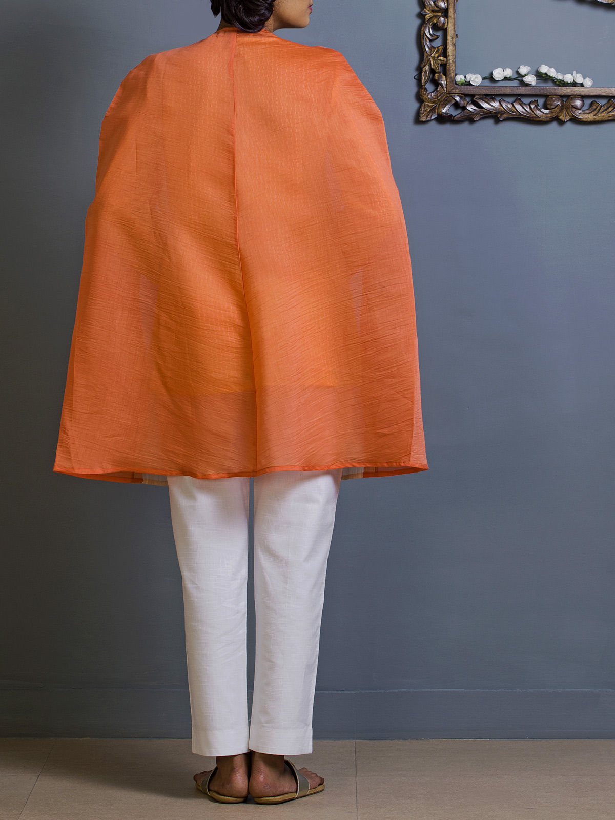 Orange Cape style Chanderi Overlay