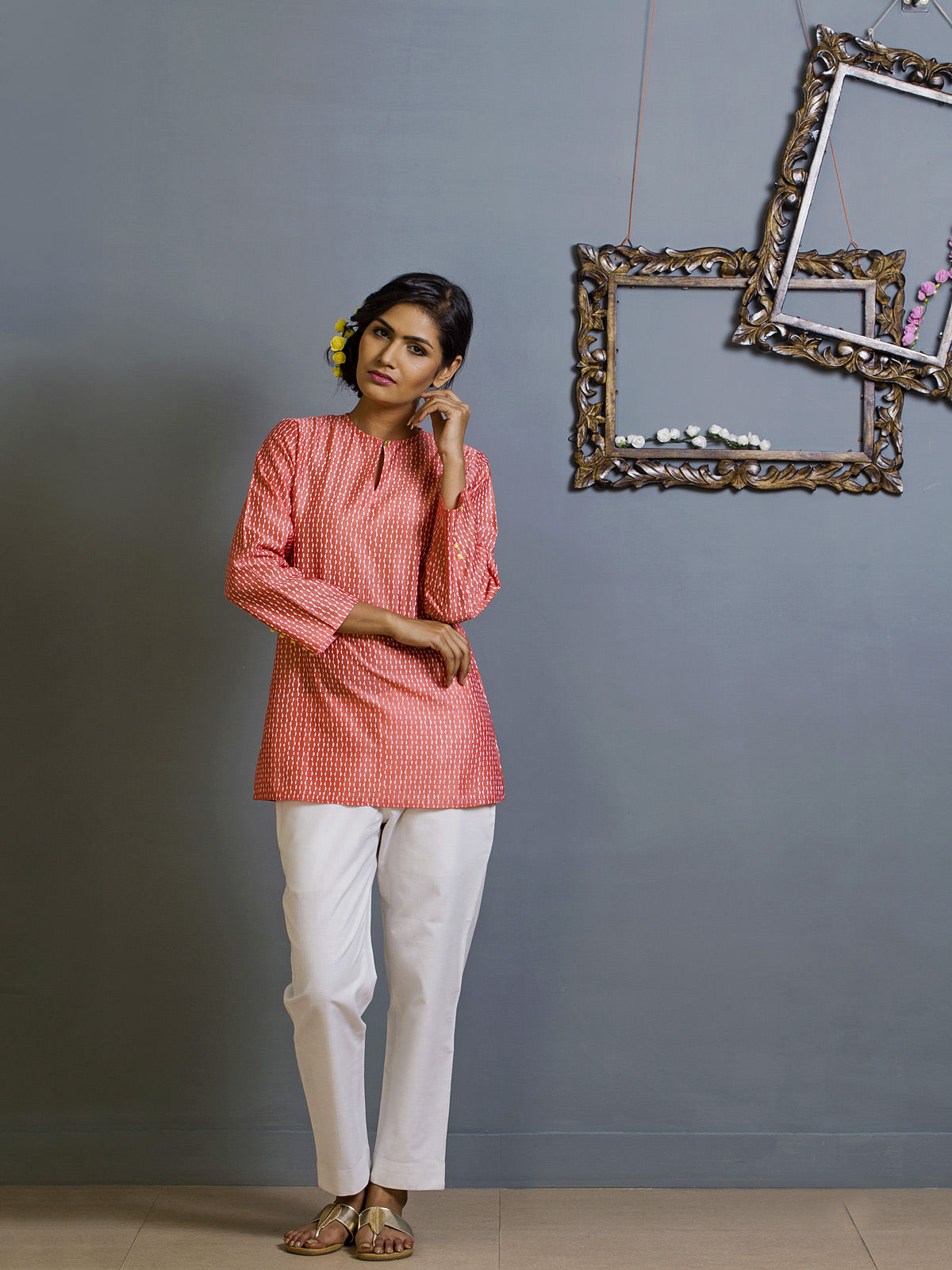 Rose Pink Chanderi Ethnic Top