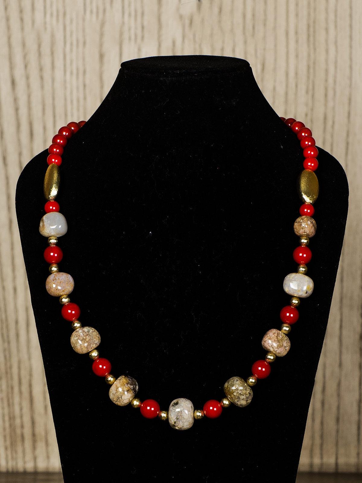 Beige Semiprecious Stone Necklace