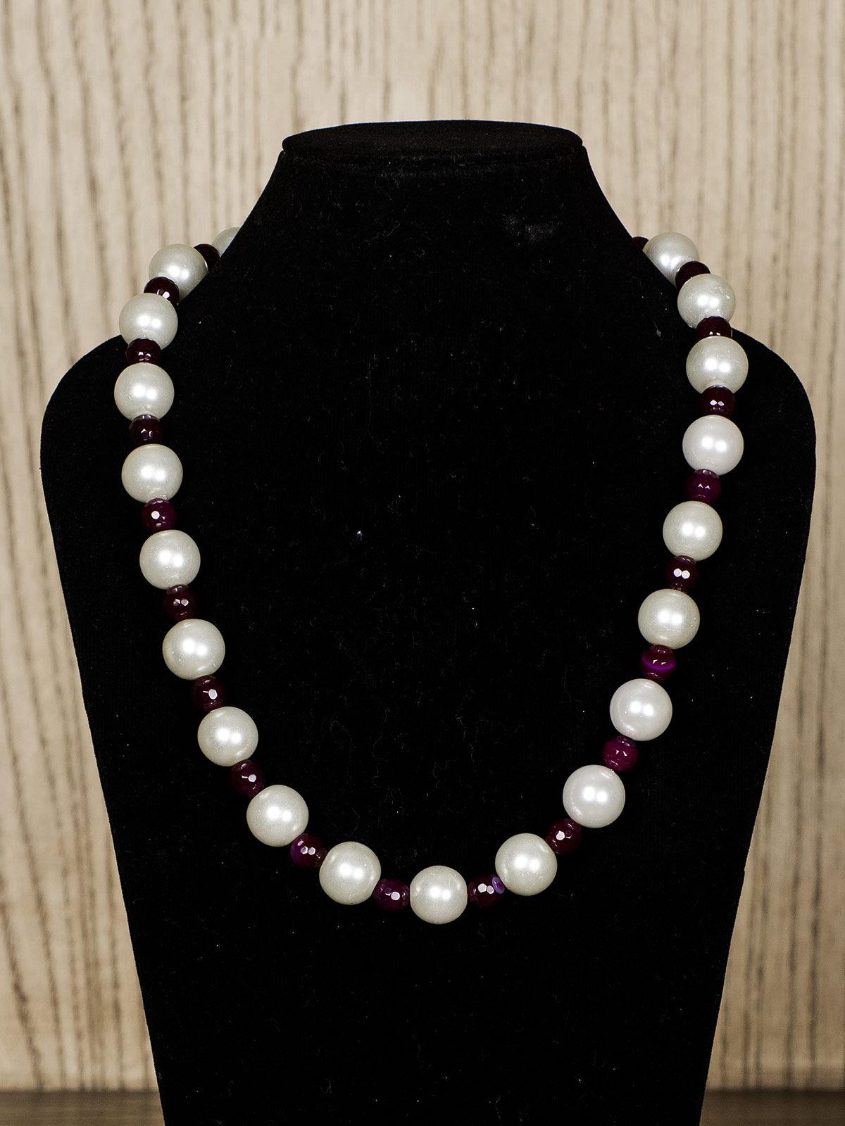 White Semiprecious Stone Necklace