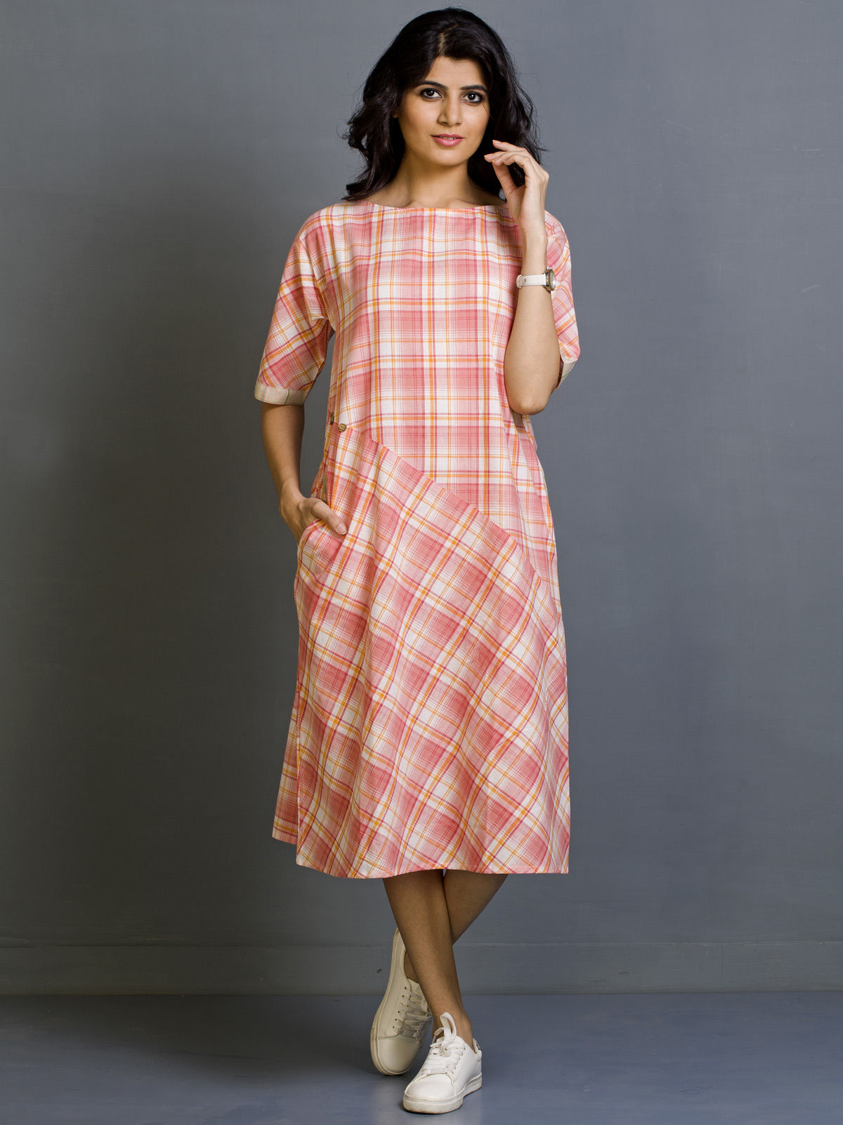 Coral Sepia Cotton Dress
