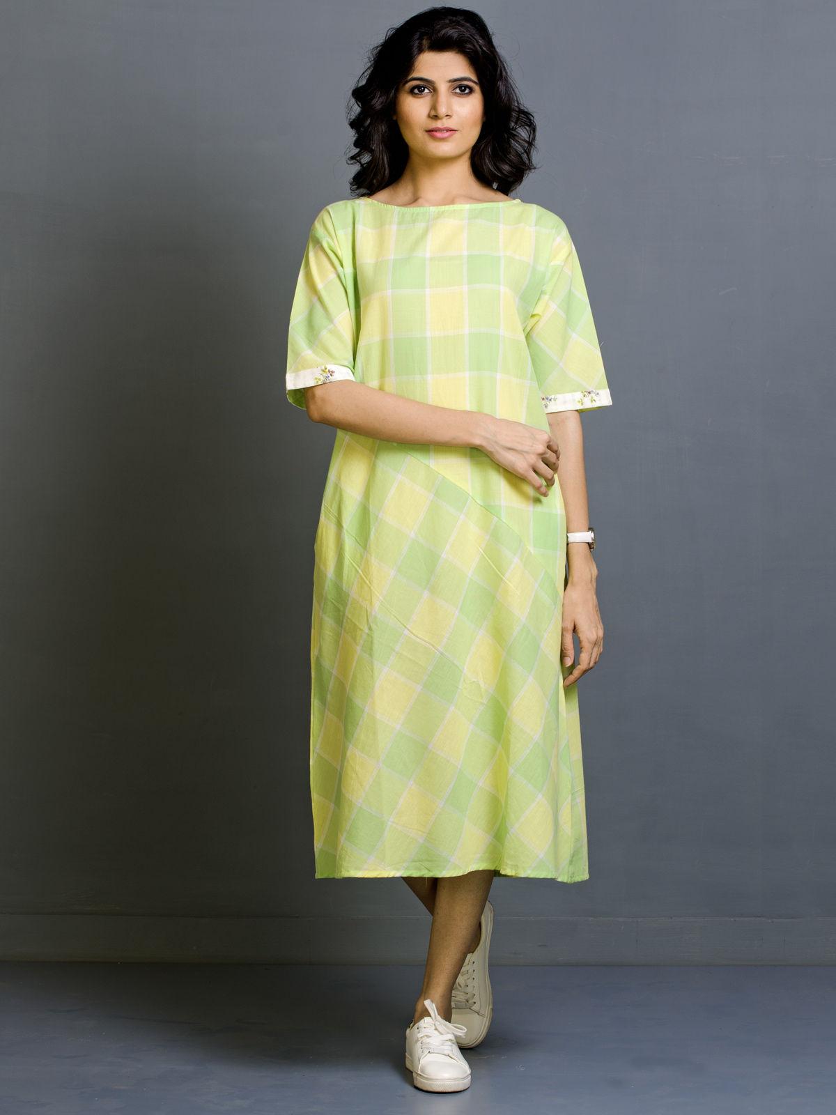 Chartreuse Twist Cotton Dress