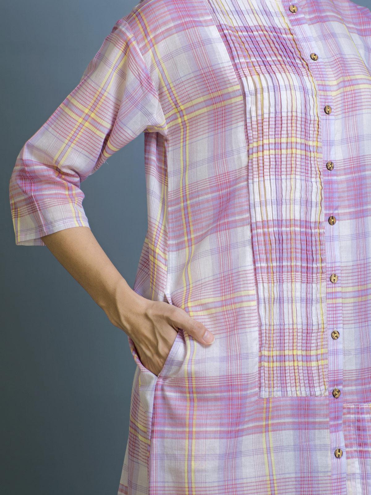 Boysenberry Cotton Shirt Dress
