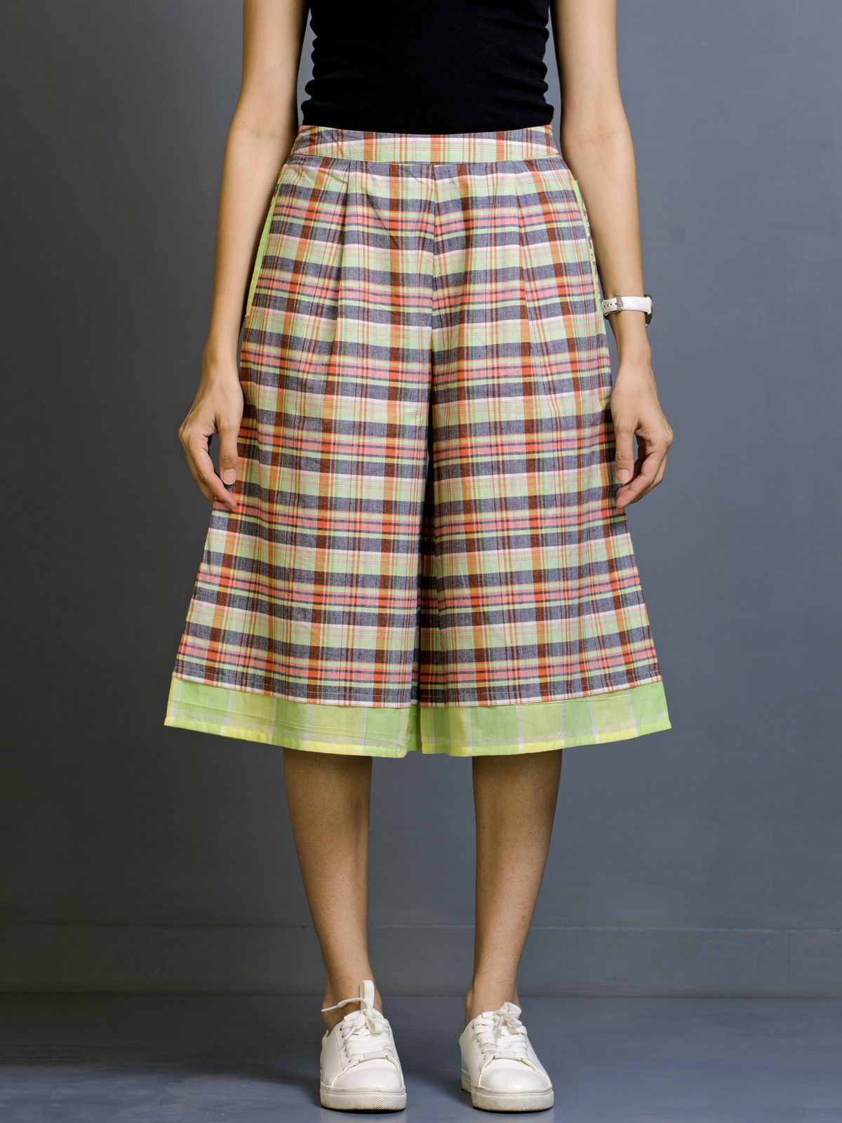 Pebble Pear Chequered Cotton Culottes