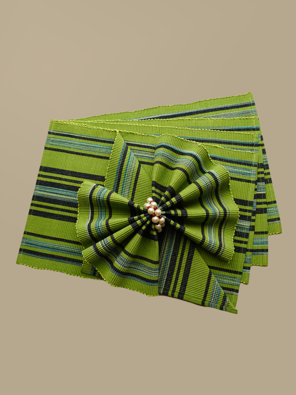 Indian August green lines pattern ribbed cotton table mats set of 6