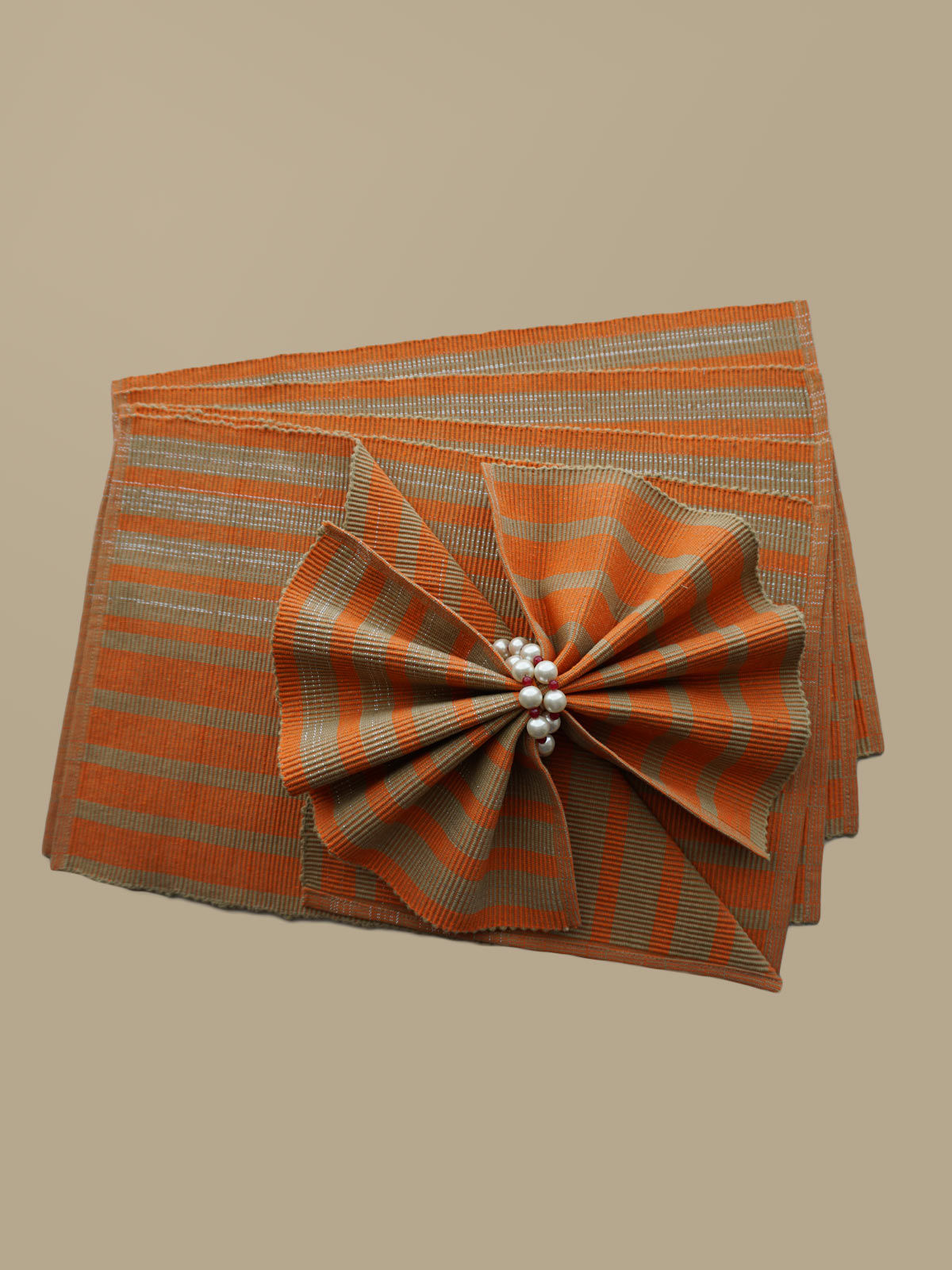 Indian August orange beige ribbed cotton table mats set of 6
