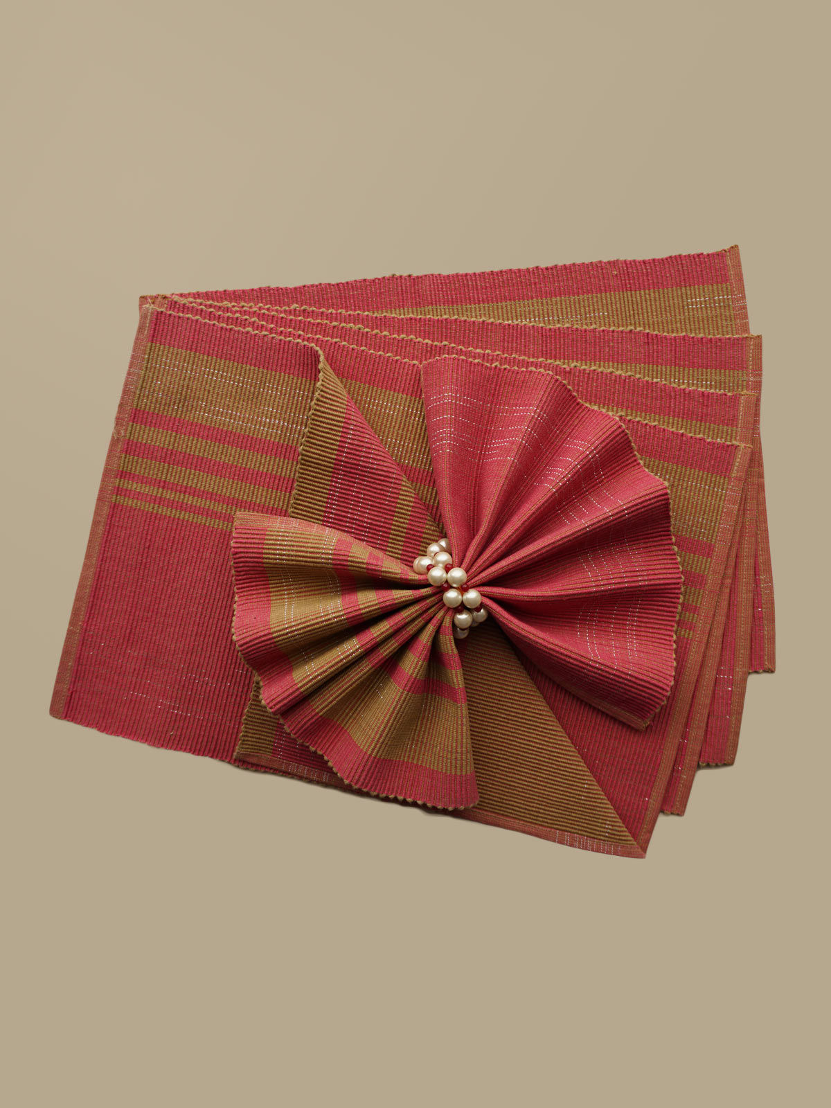 Indian August pink beige ribbed cotton table mats set of 6