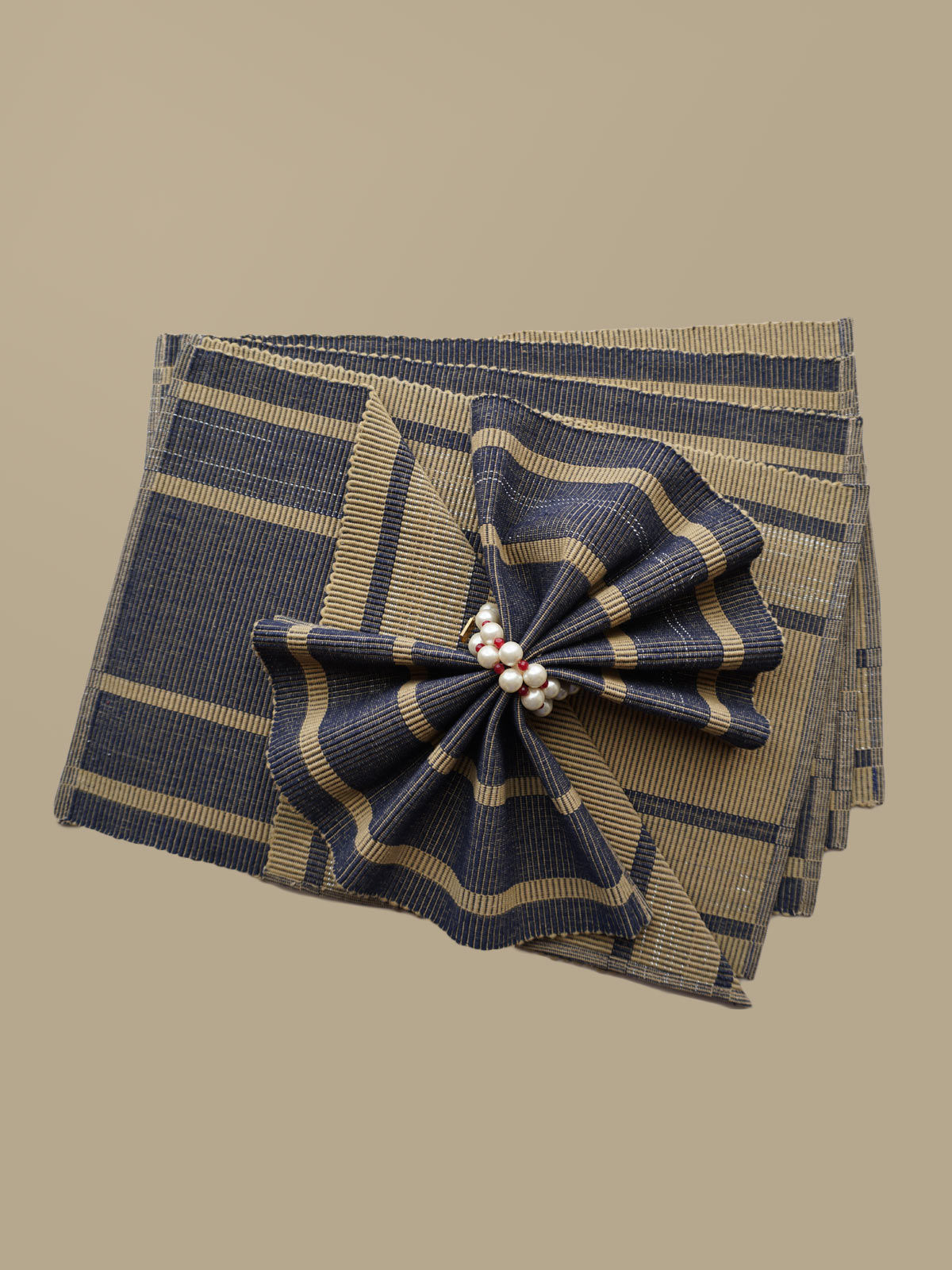 Indian August beige blue ribbed cotton table mats set of 6