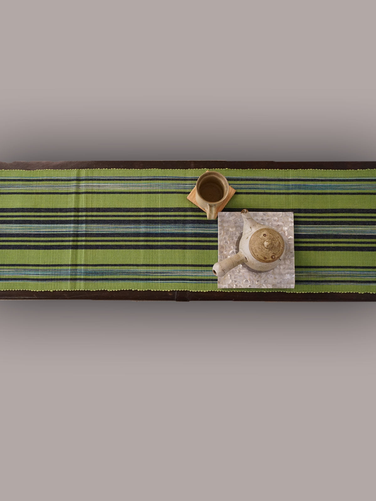 Indian August limegreen black ribbed cotton table runner